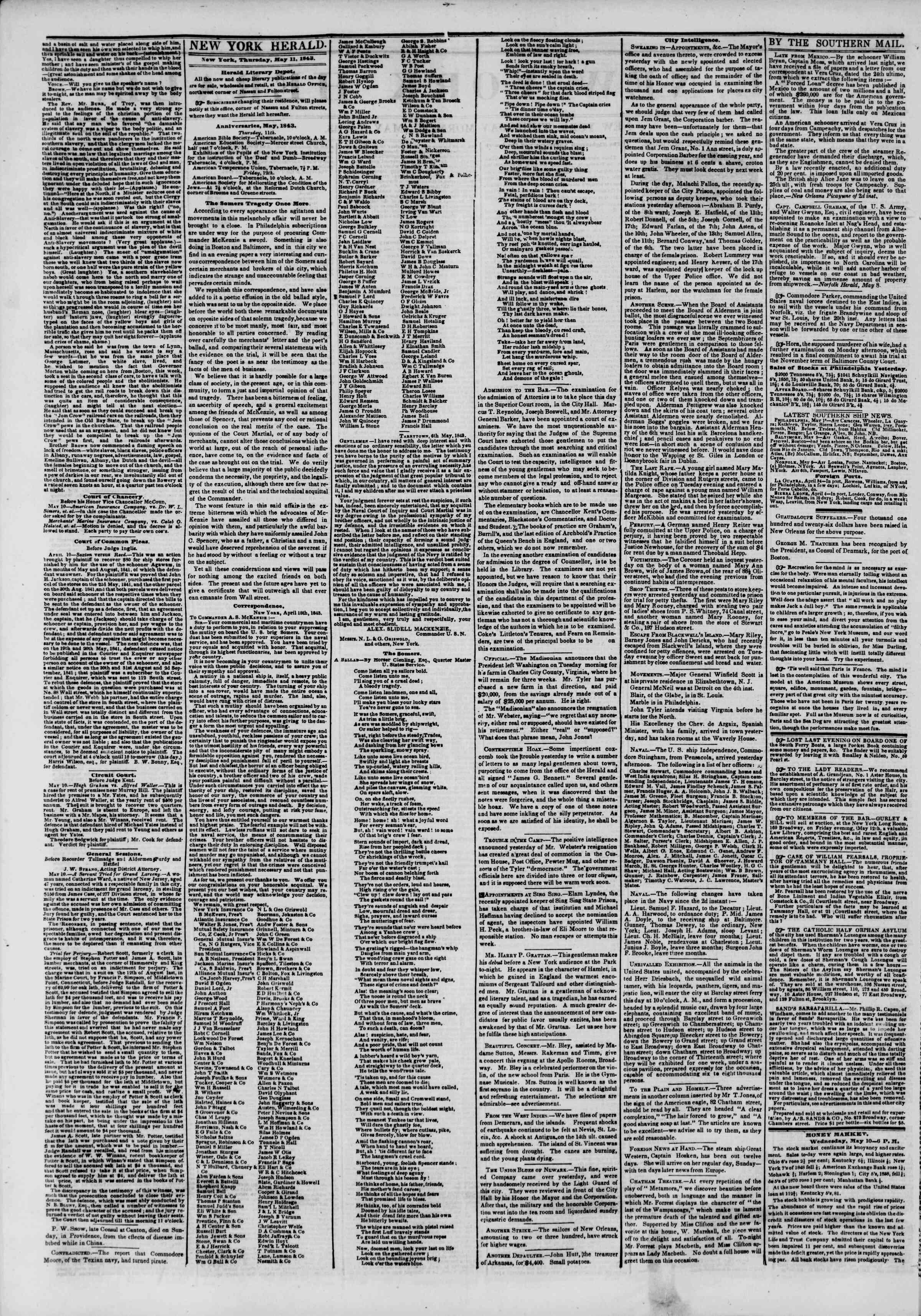 11 Mayıs 1843 tarihli The New York Herald Gazetesi Sayfa 2