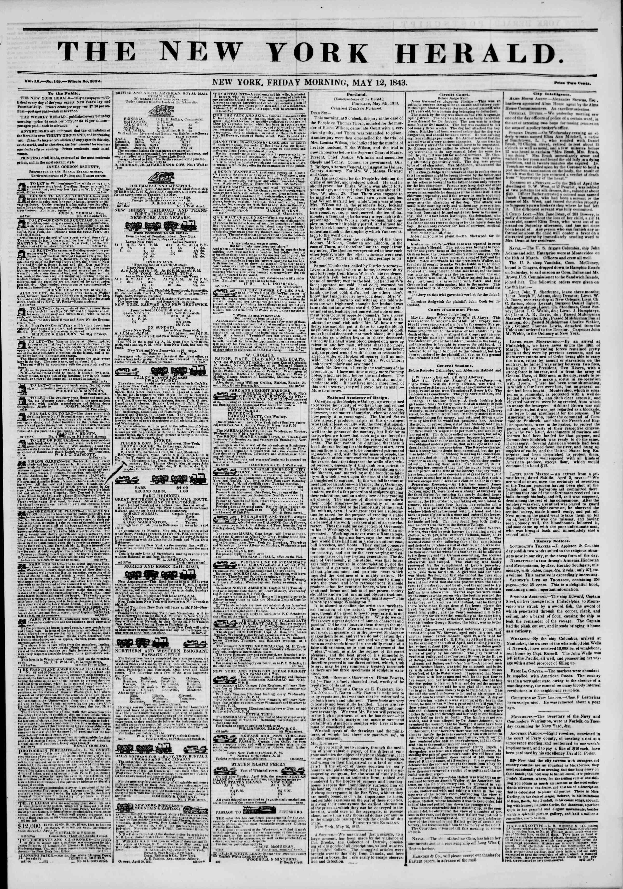 May 12, 1843 Tarihli The New York Herald Gazetesi Sayfa 1