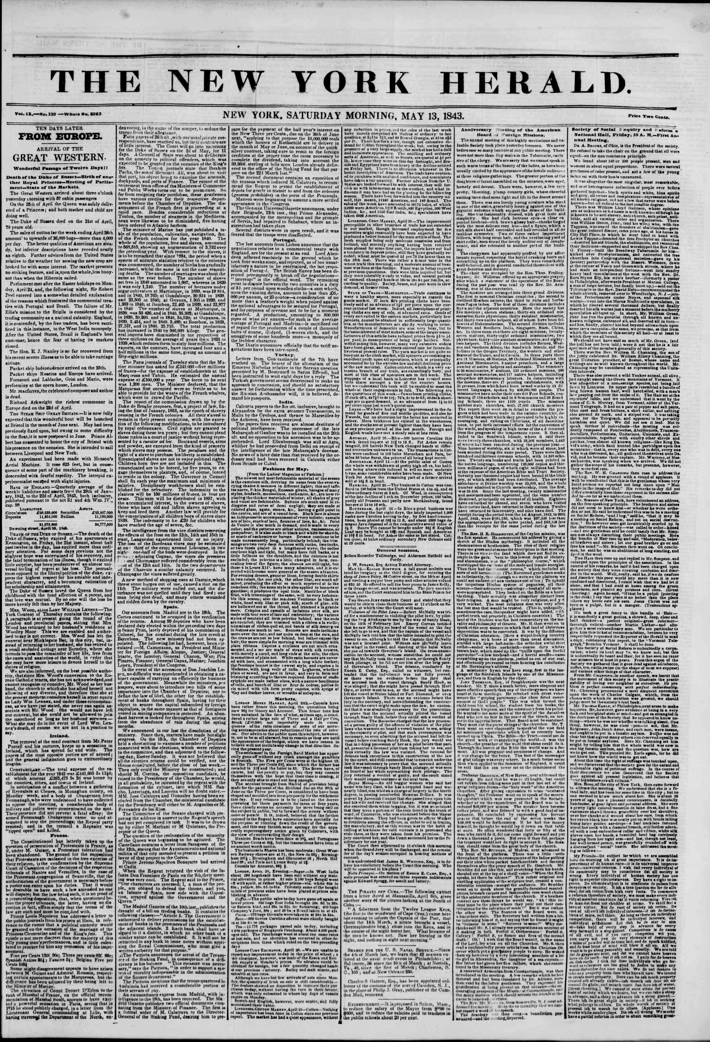 May 13, 1843 Tarihli The New York Herald Gazetesi Sayfa 1