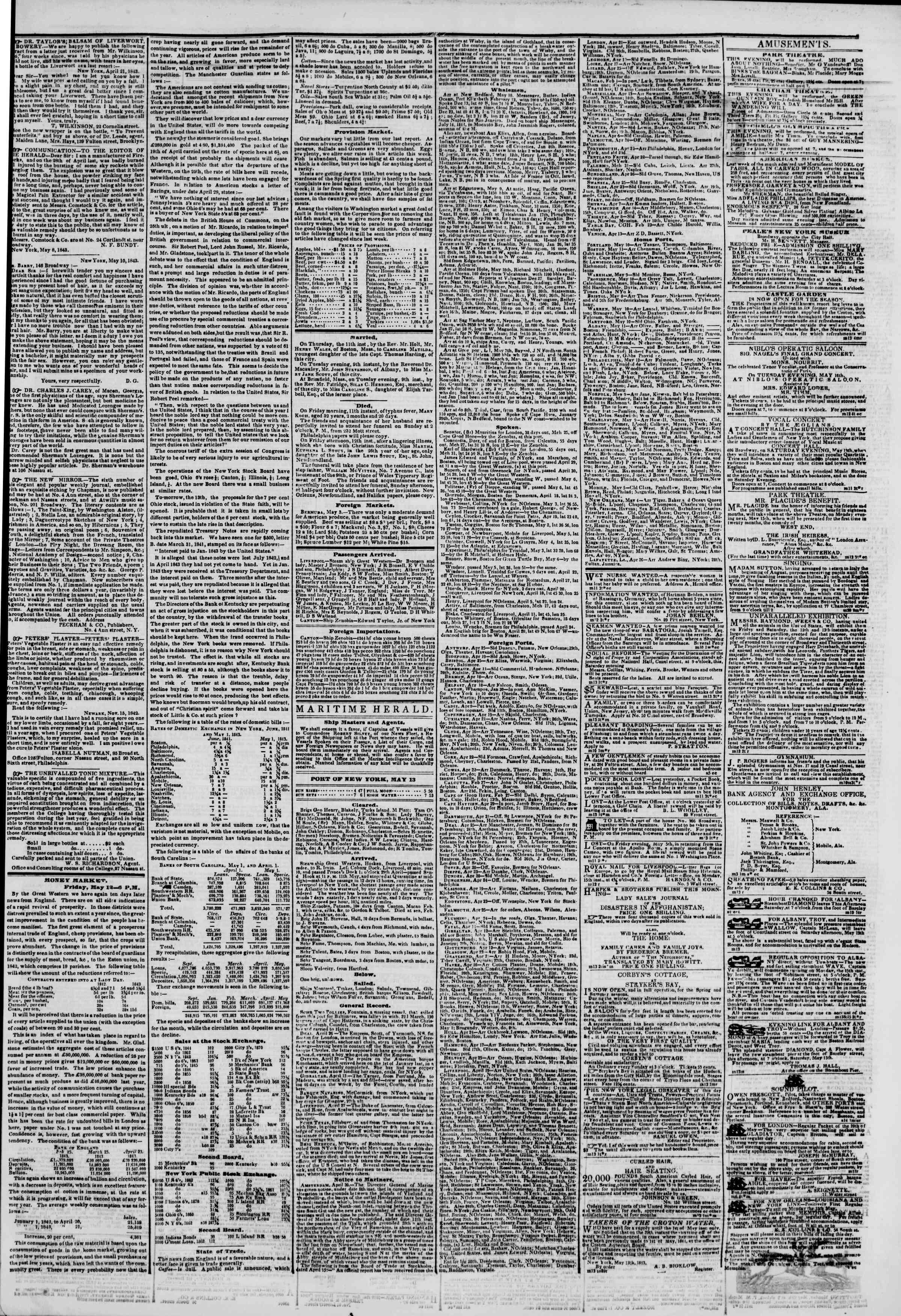 May 13, 1843 Tarihli The New York Herald Gazetesi Sayfa 3