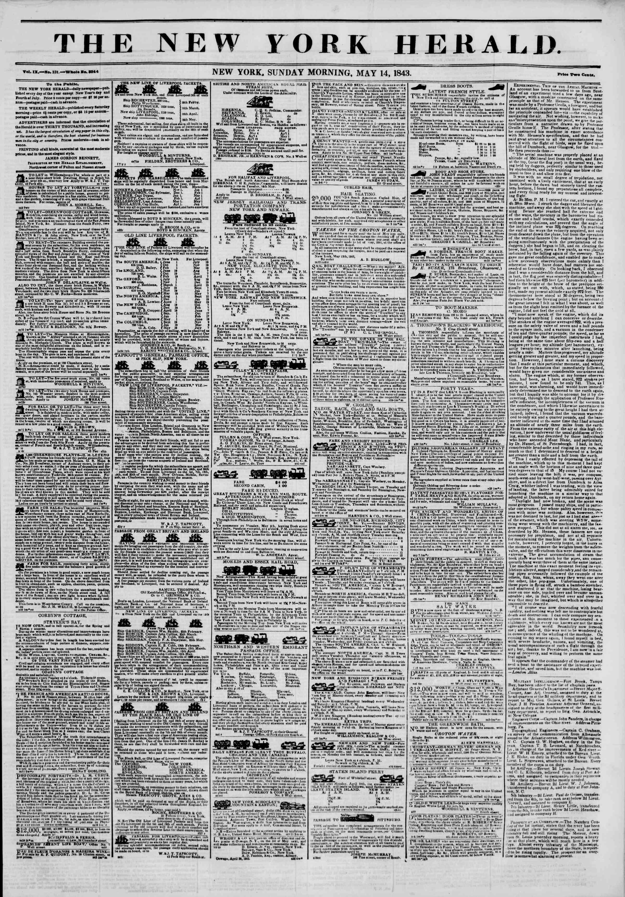 May 14, 1843 Tarihli The New York Herald Gazetesi Sayfa 1