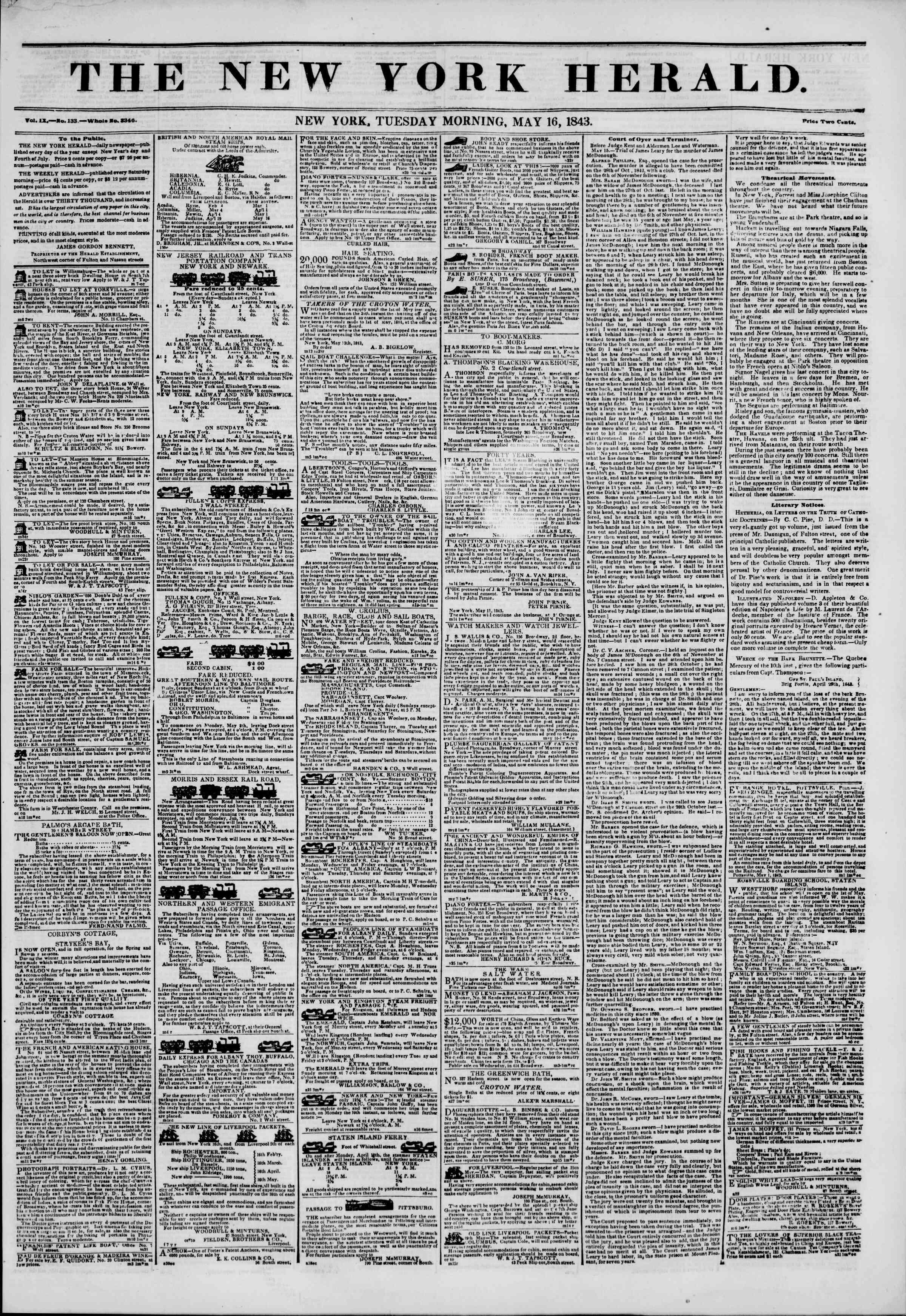 16 Mayıs 1843 tarihli The New York Herald Gazetesi Sayfa 1