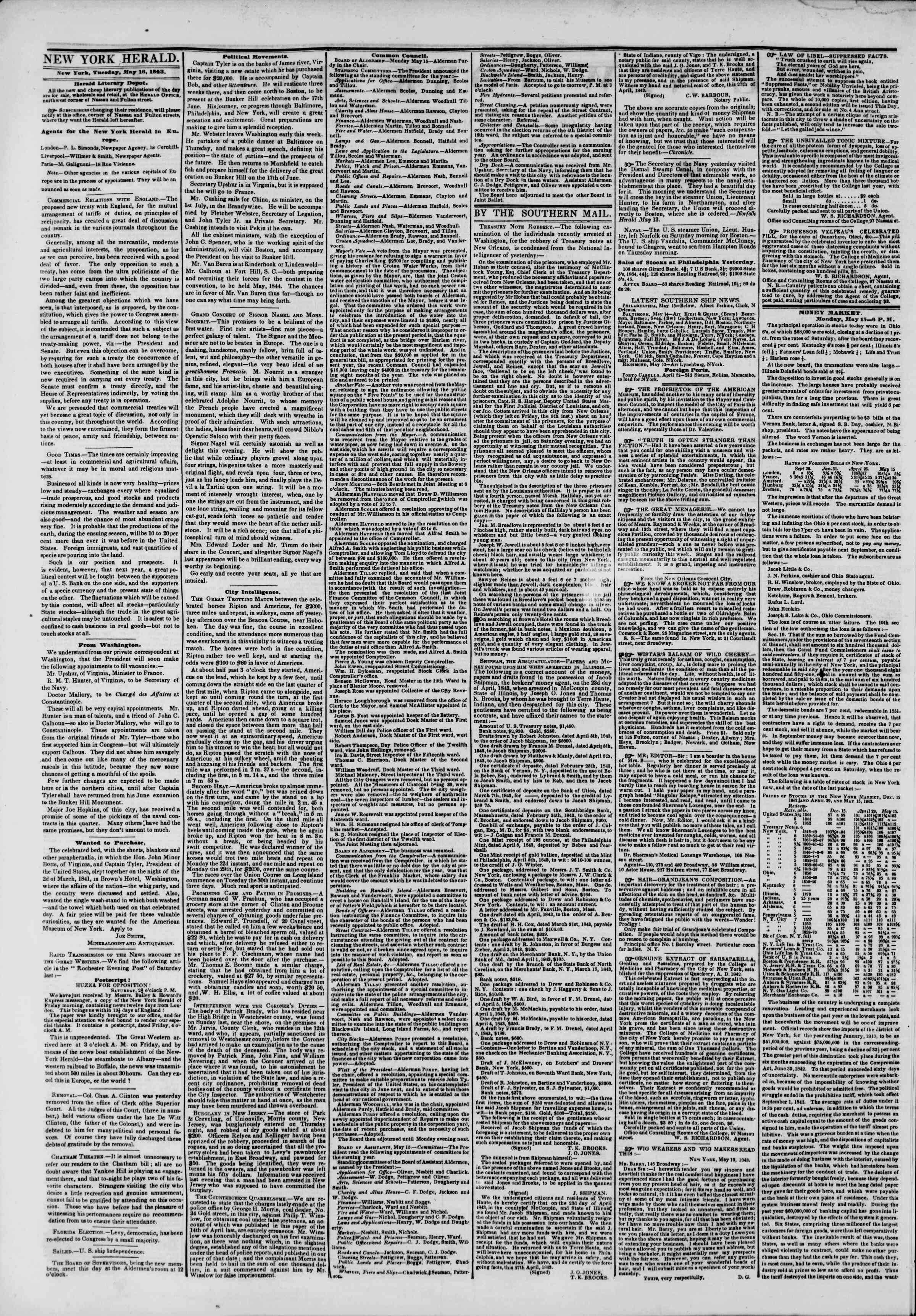 Newspaper of The New York Herald dated May 16, 1843 Page 2