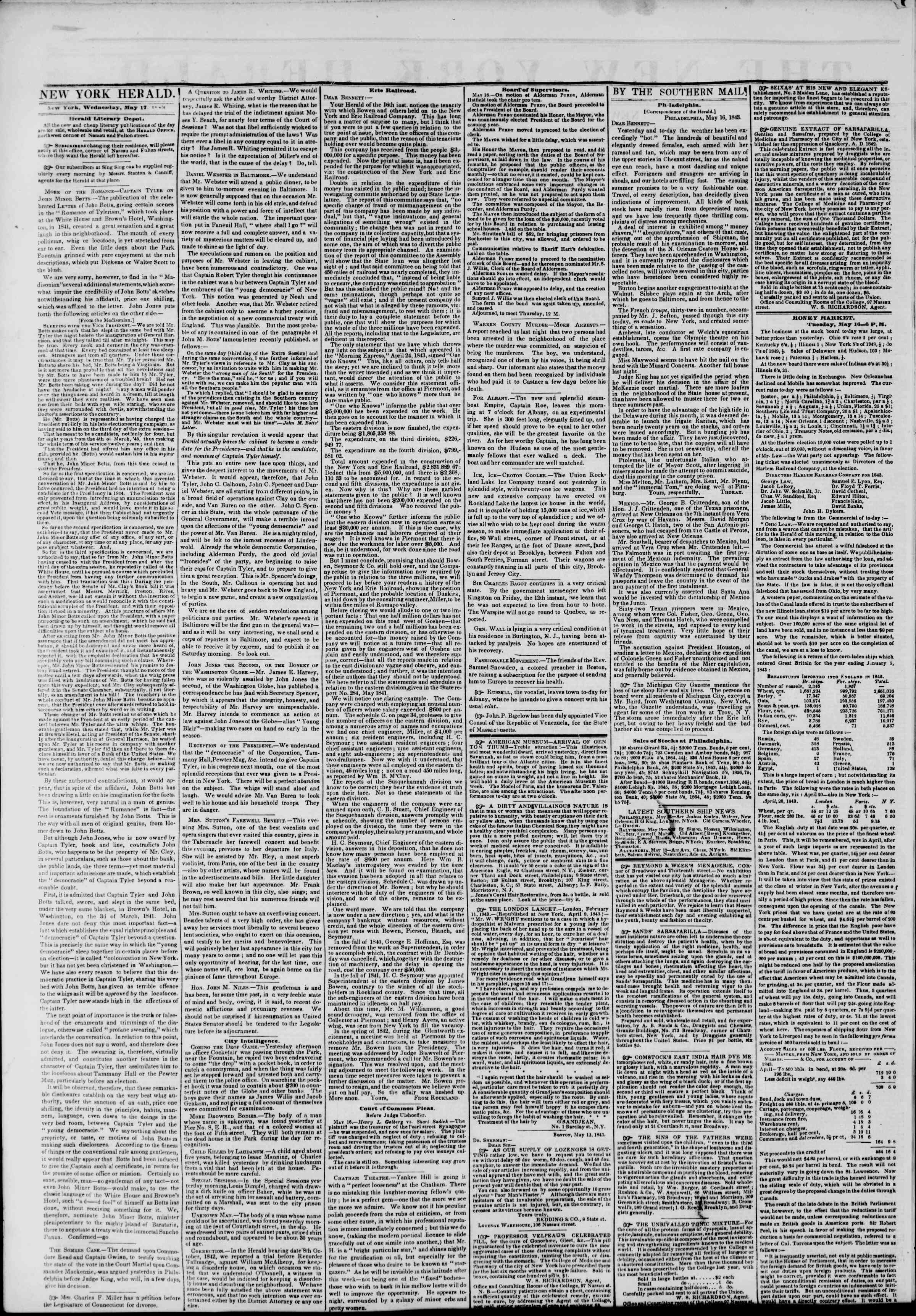 Newspaper of The New York Herald dated May 17, 1843 Page 2