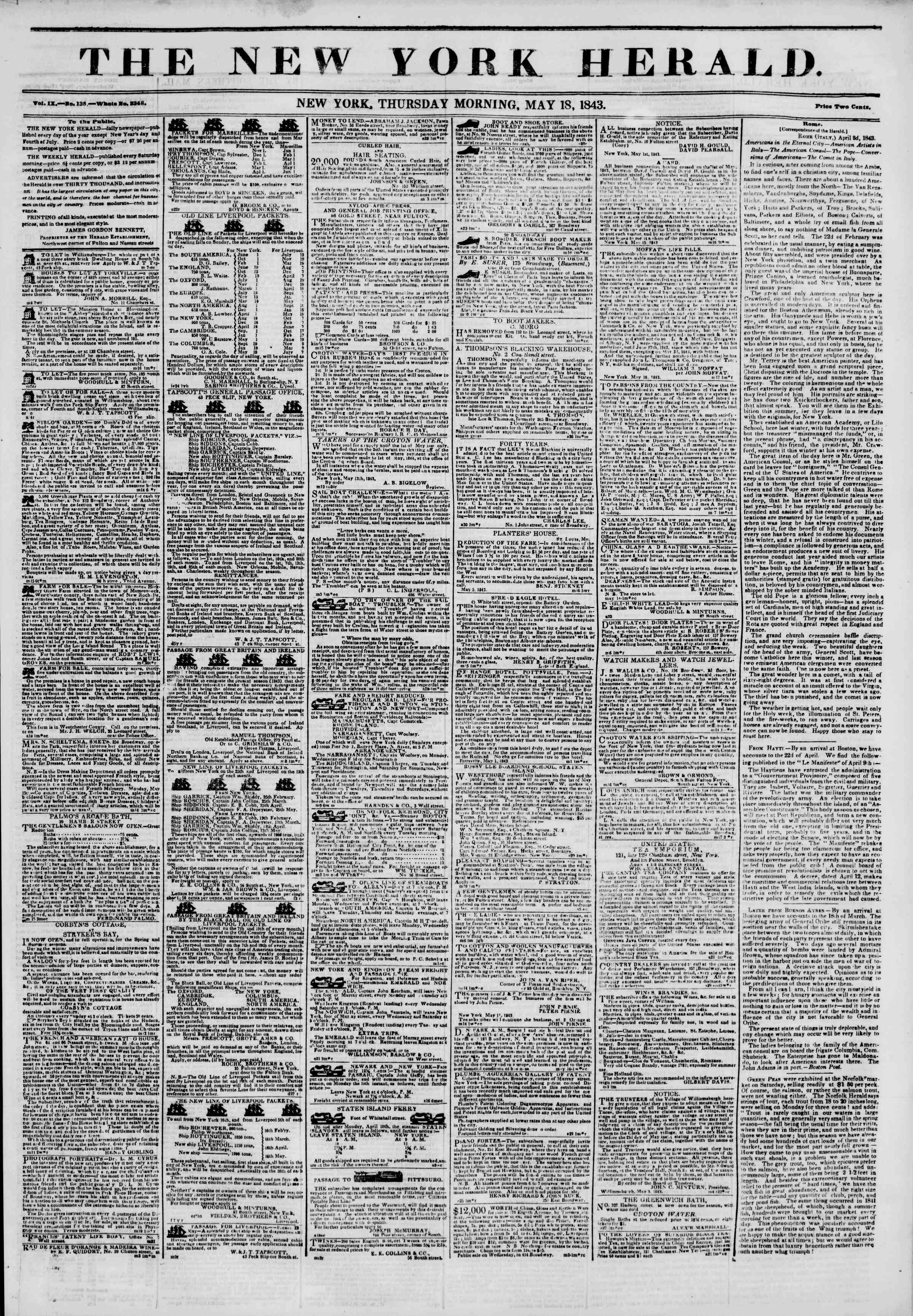 Newspaper of The New York Herald dated May 18, 1843 Page 1