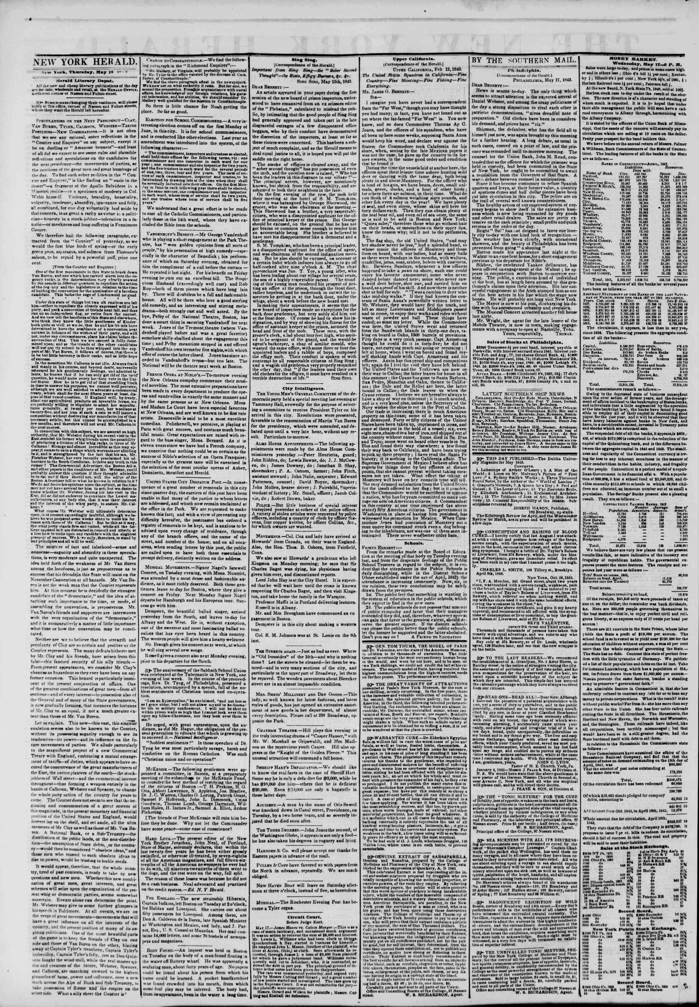 May 18, 1843 Tarihli The New York Herald Gazetesi Sayfa 2