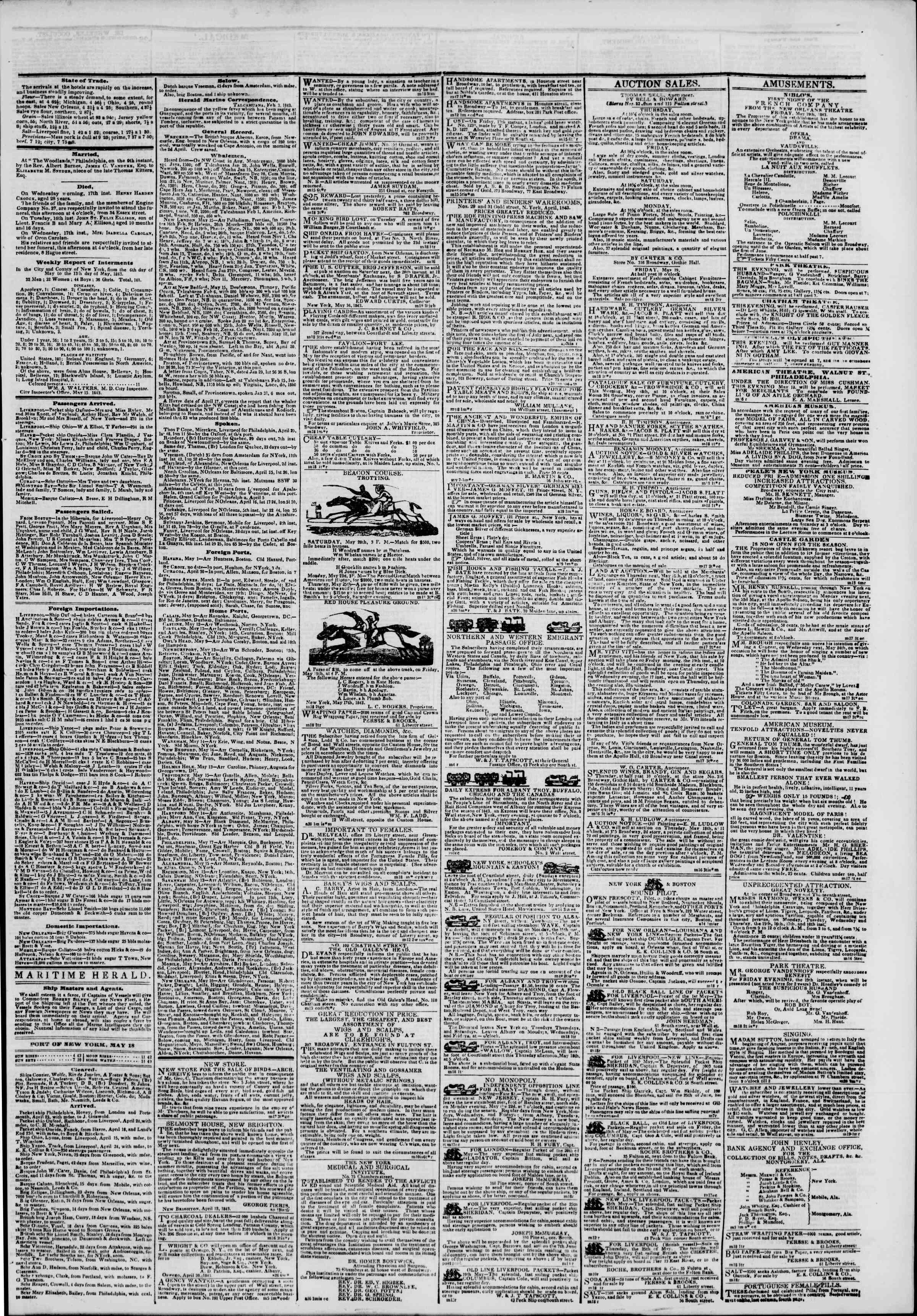 May 18, 1843 Tarihli The New York Herald Gazetesi Sayfa 3