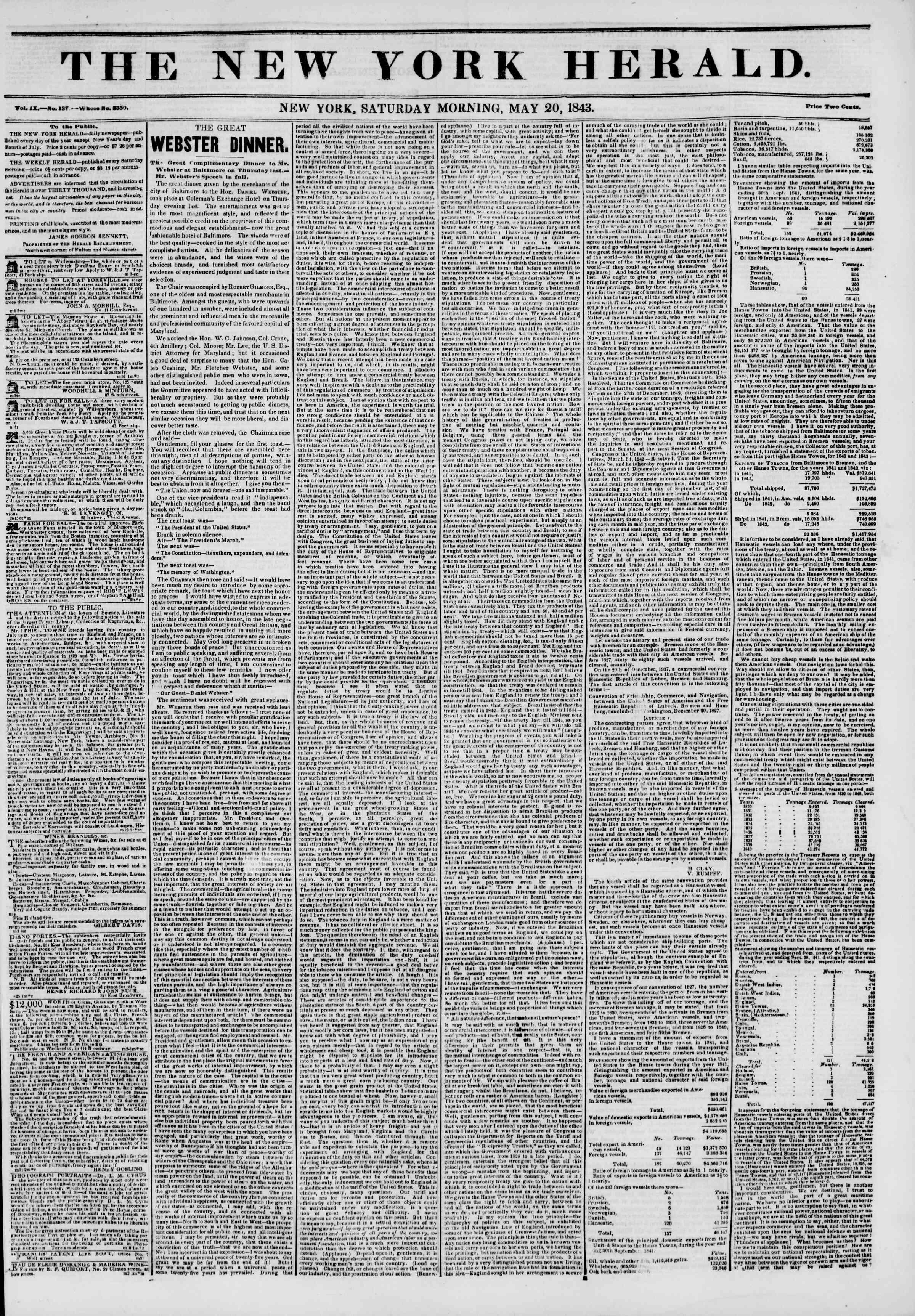 May 20, 1843 Tarihli The New York Herald Gazetesi Sayfa 1