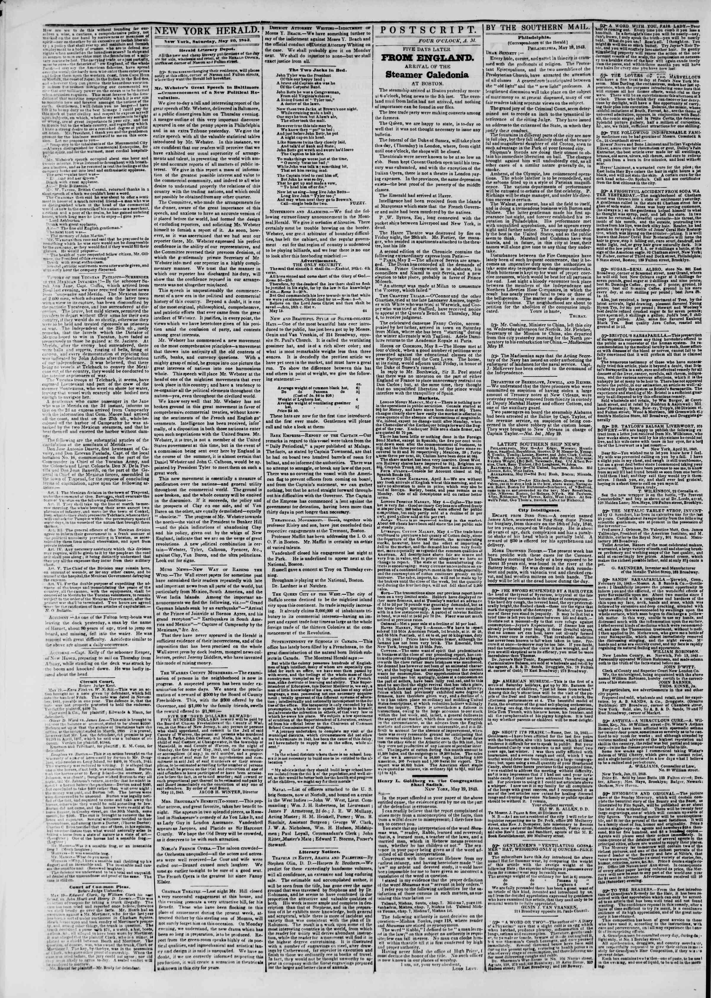 May 20, 1843 Tarihli The New York Herald Gazetesi Sayfa 2
