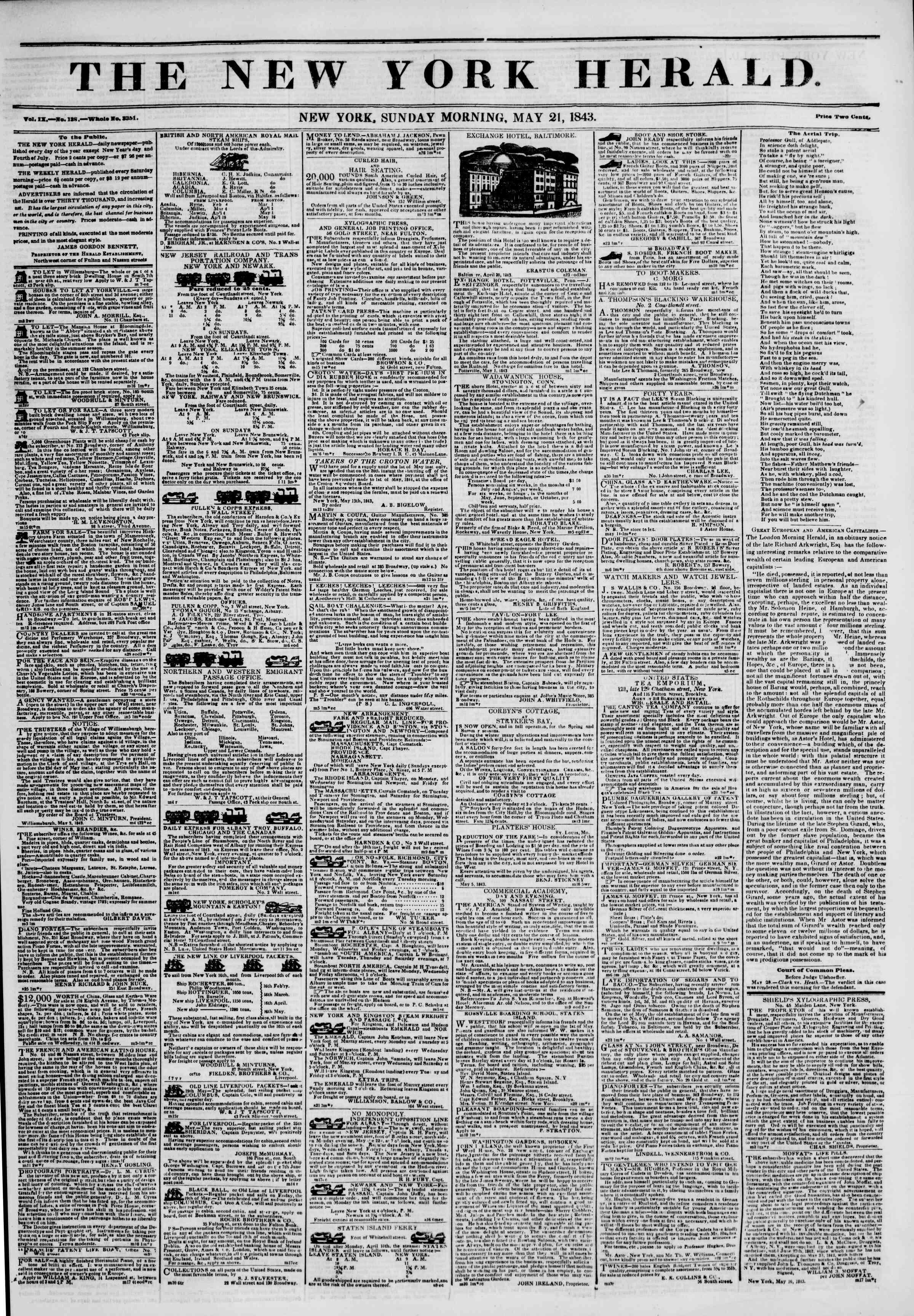 21 Mayıs 1843 tarihli The New York Herald Gazetesi Sayfa 1