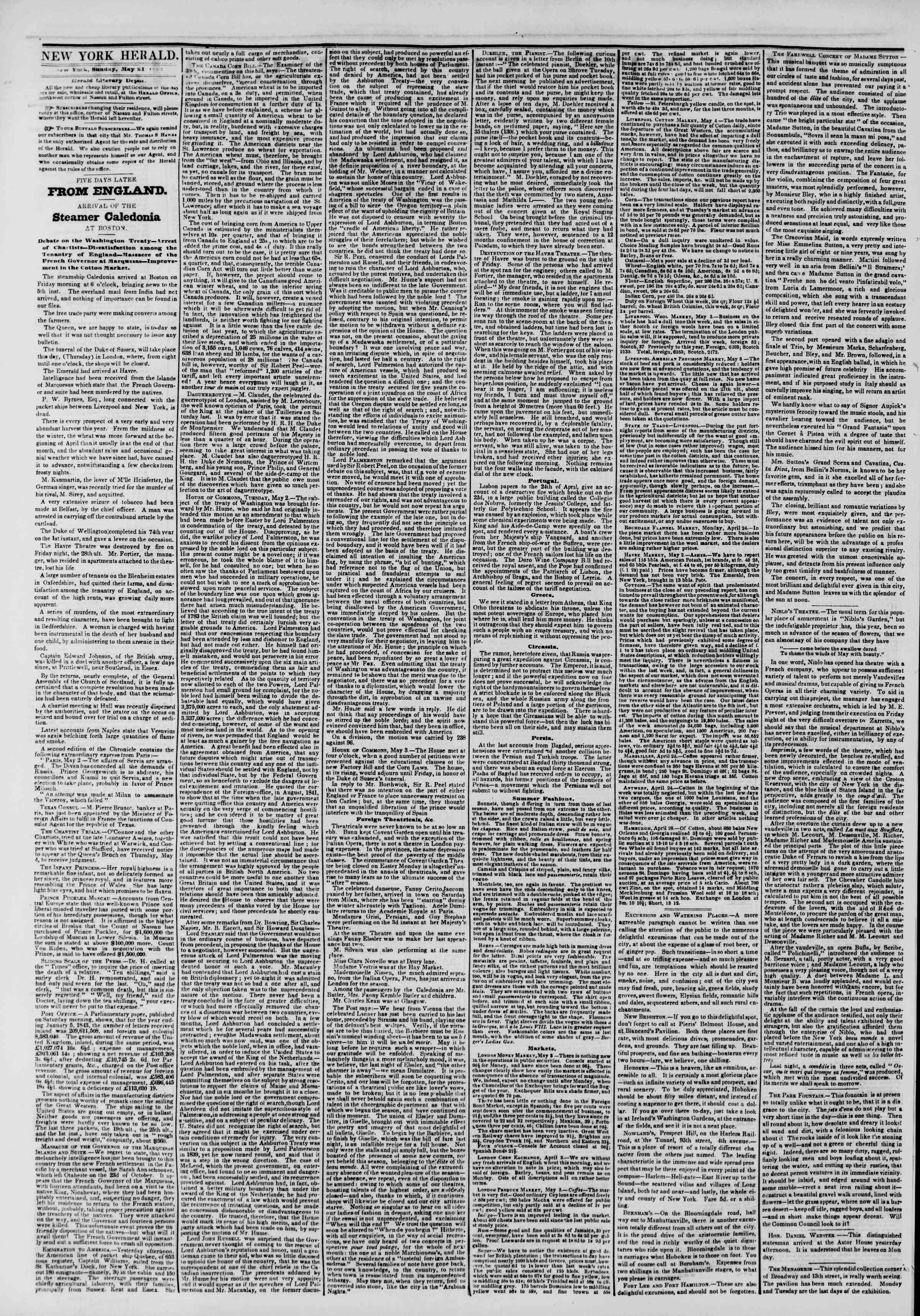 Newspaper of The New York Herald dated May 21, 1843 Page 2