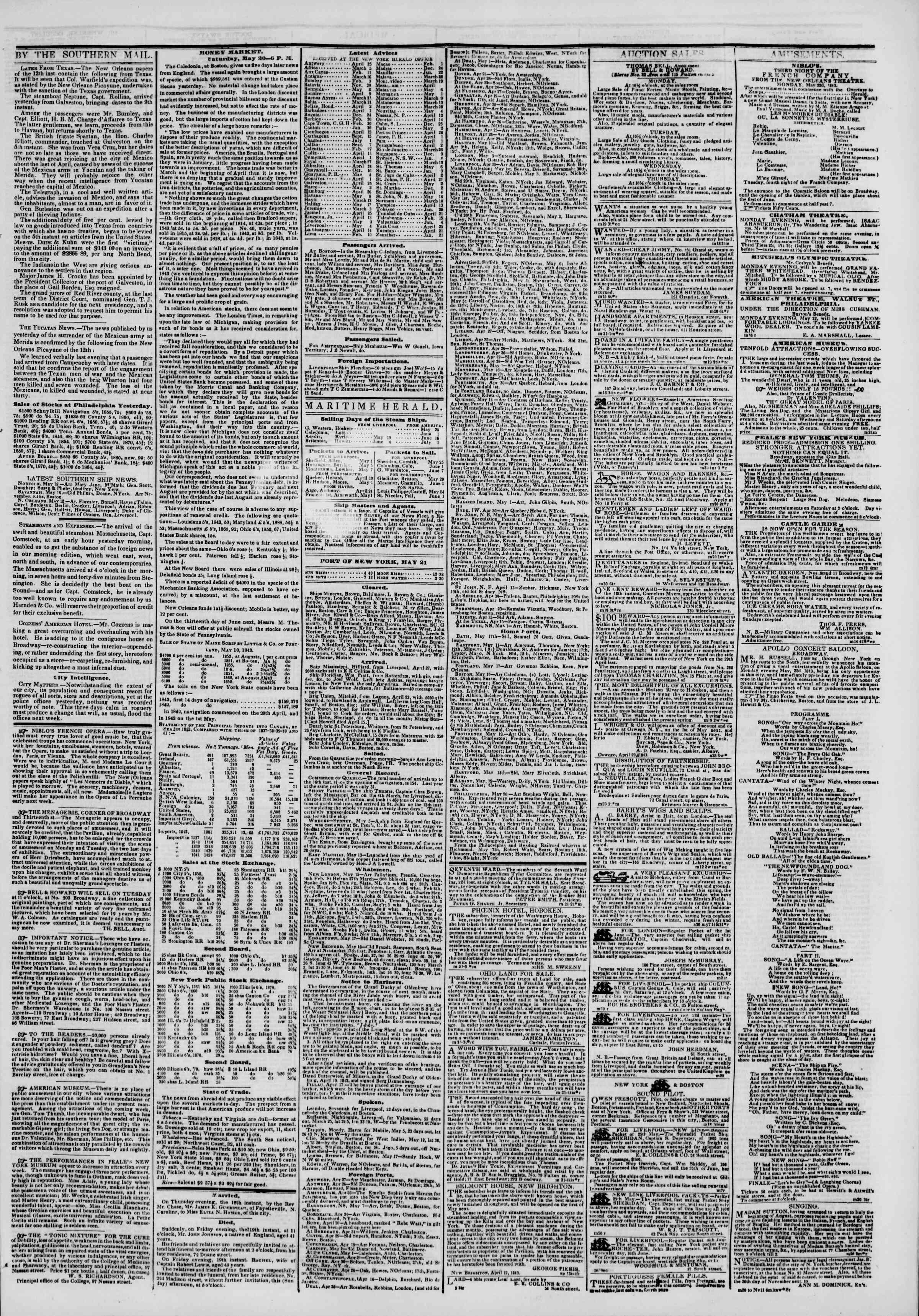 May 21, 1843 Tarihli The New York Herald Gazetesi Sayfa 3