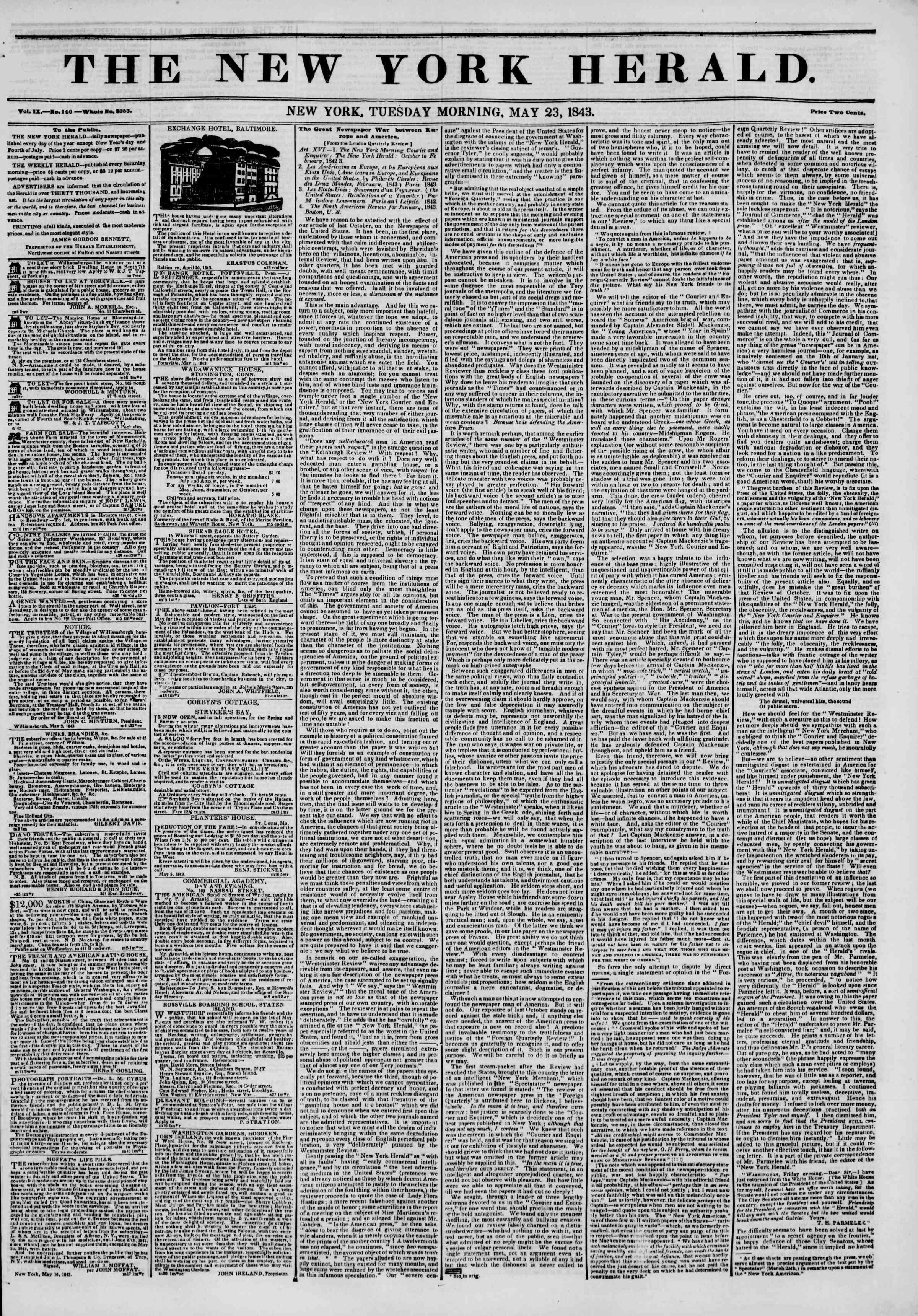 May 23, 1843 Tarihli The New York Herald Gazetesi Sayfa 1