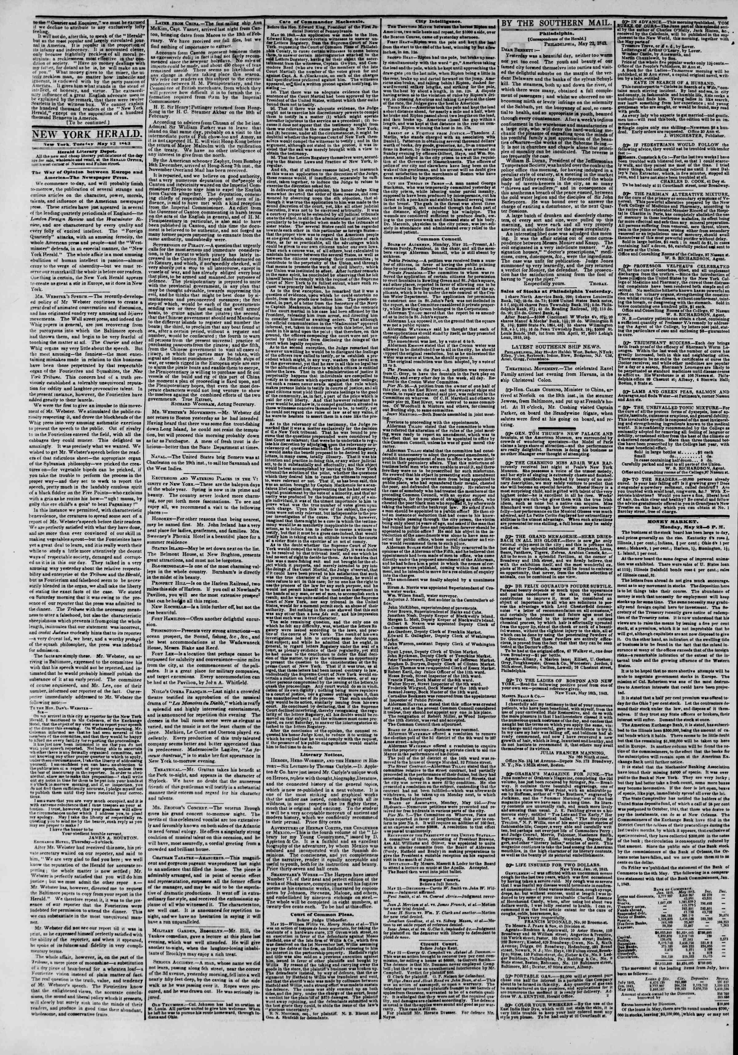 May 23, 1843 Tarihli The New York Herald Gazetesi Sayfa 2