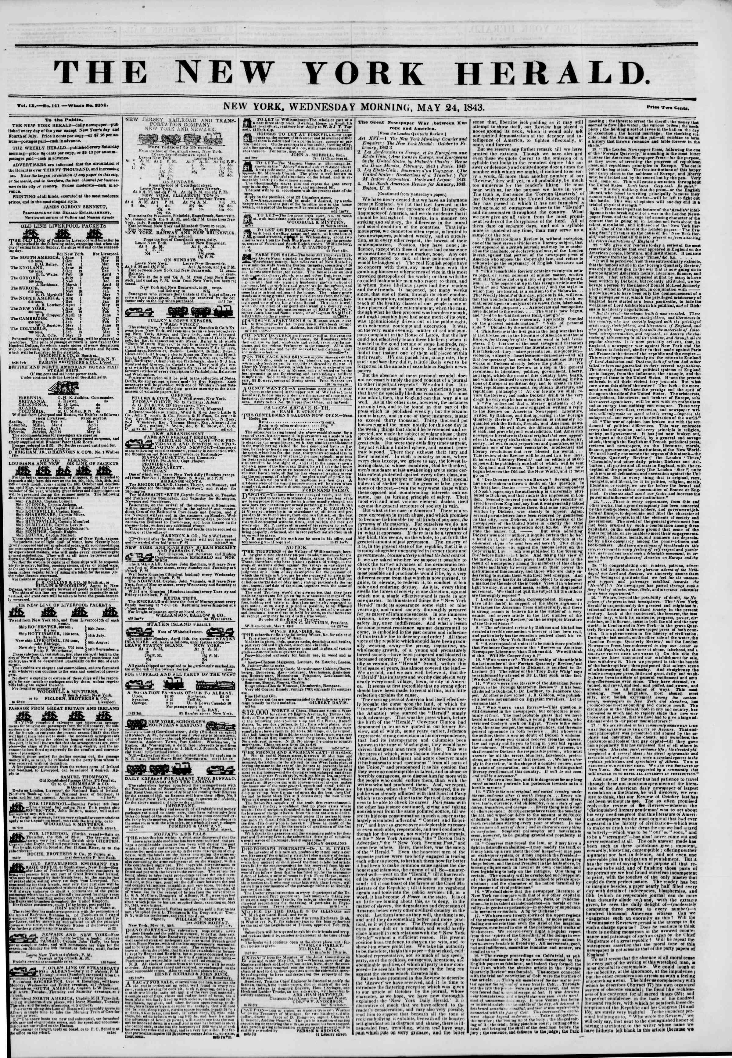 Newspaper of The New York Herald dated May 24, 1843 Page 1