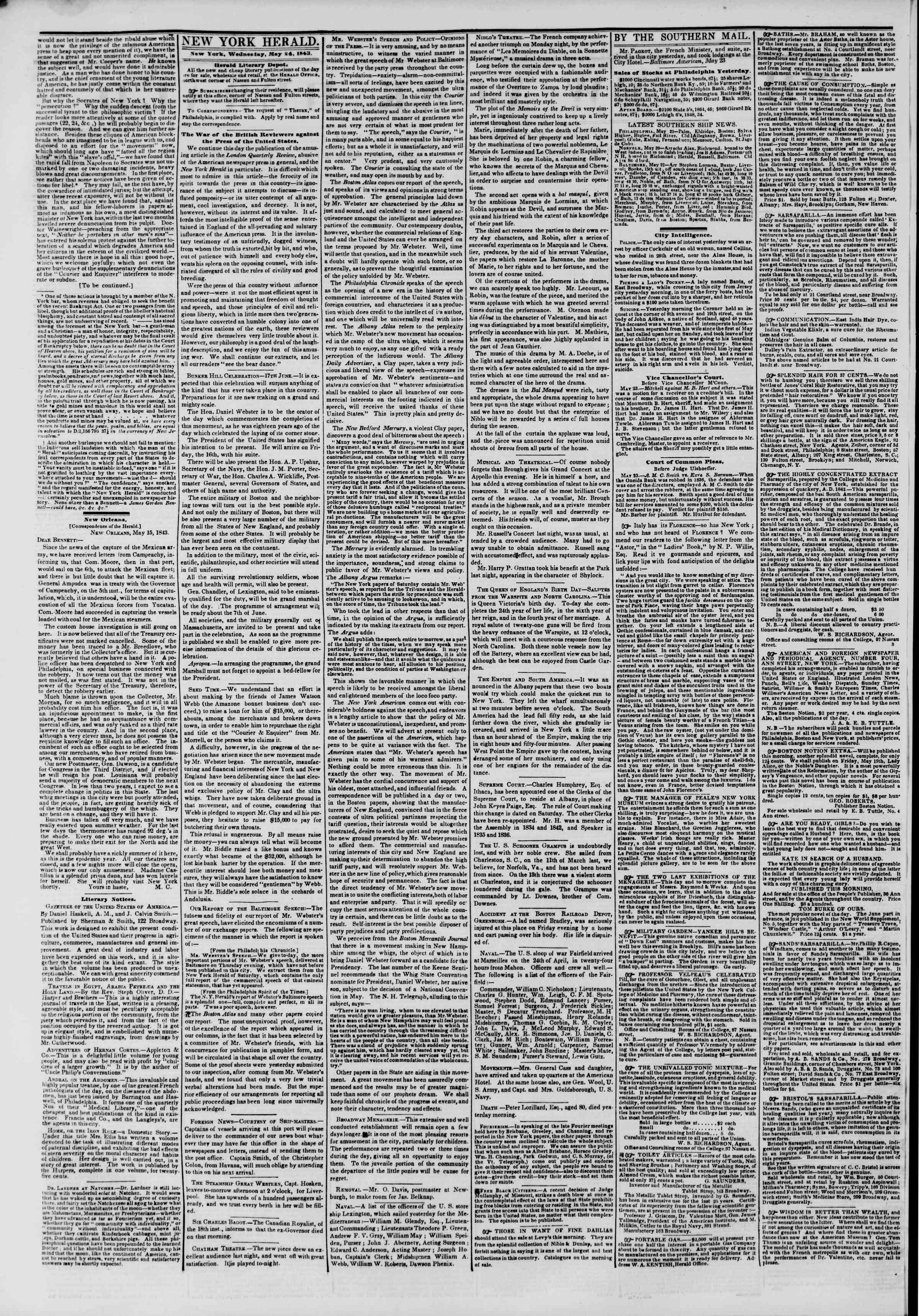 Newspaper of The New York Herald dated 24 Mayıs 1843 Page 2
