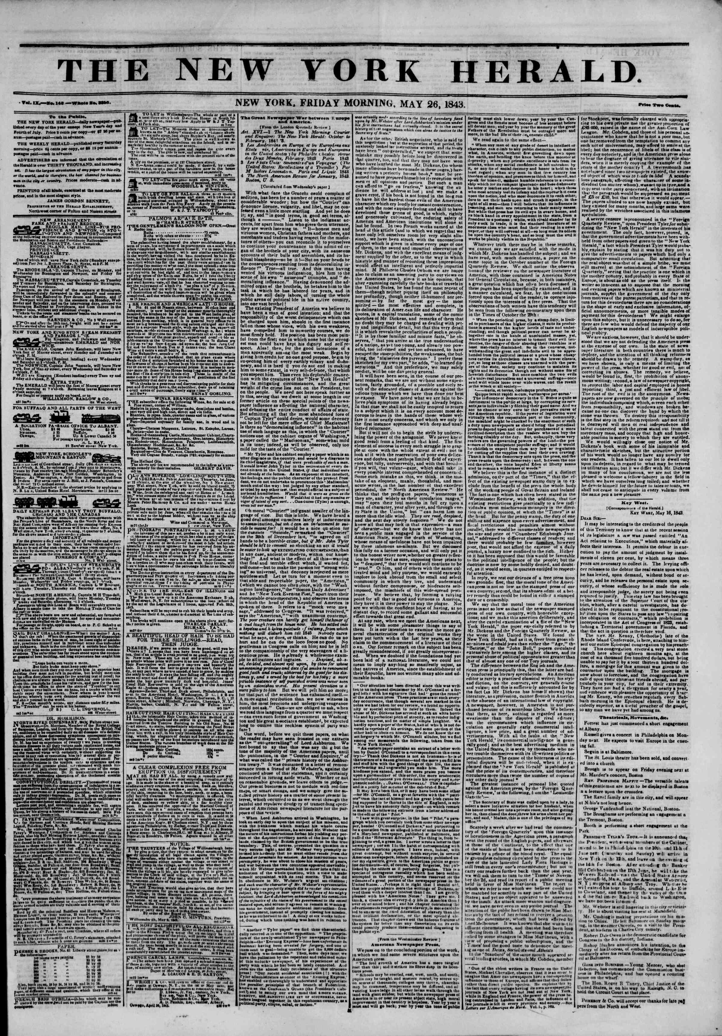 May 26, 1843 Tarihli The New York Herald Gazetesi Sayfa 1