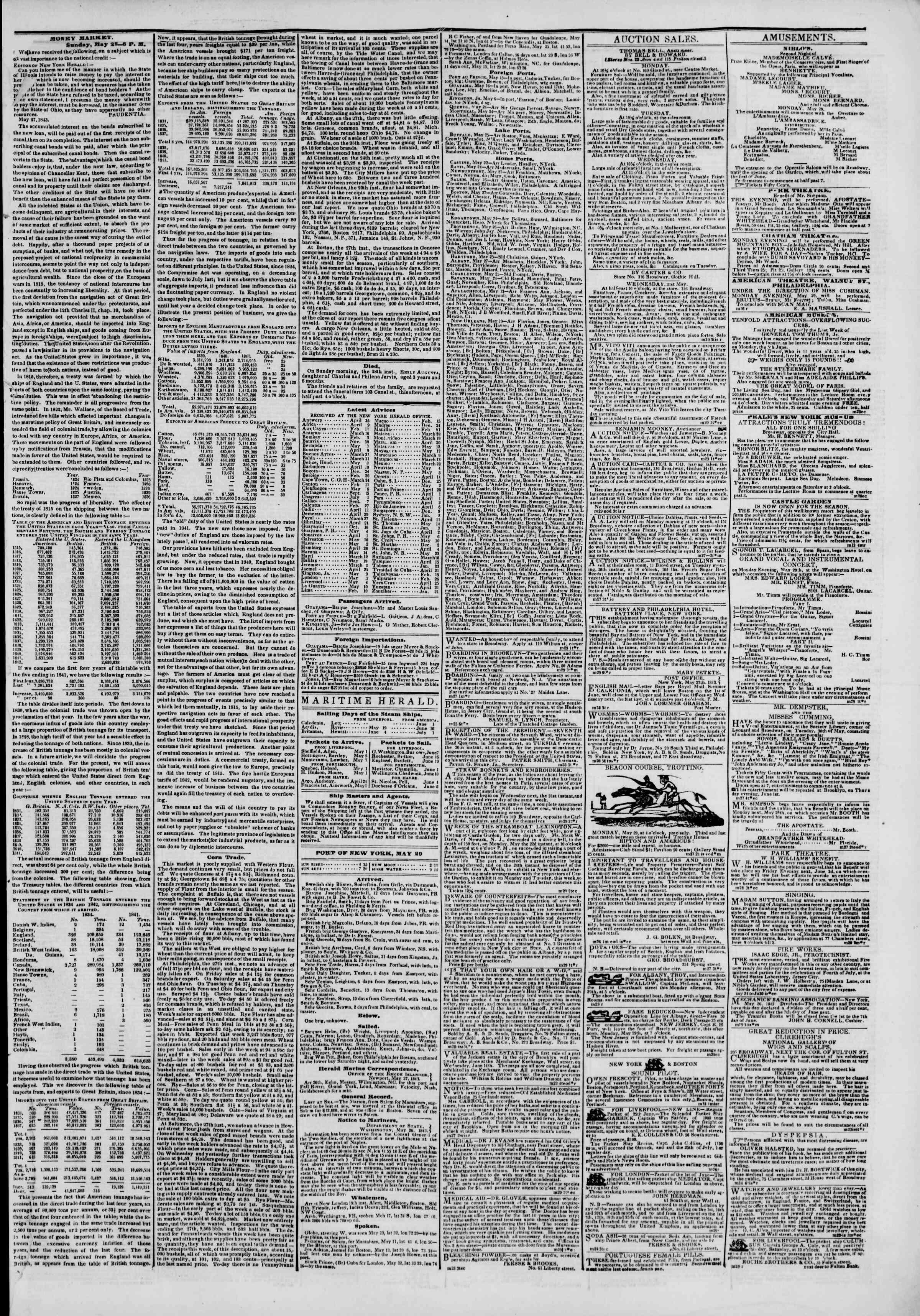 May 29, 1843 Tarihli The New York Herald Gazetesi Sayfa 3