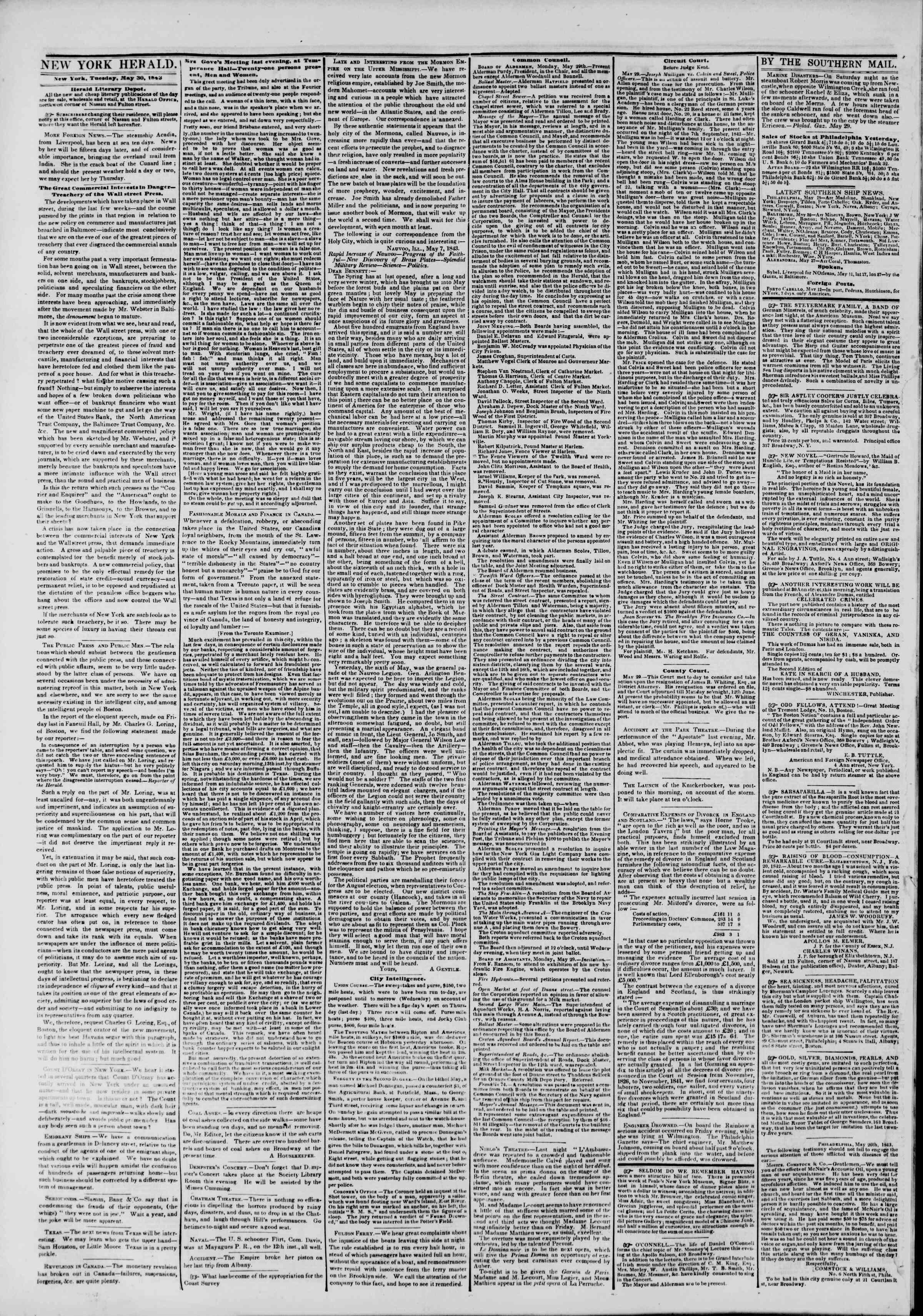 May 30, 1843 Tarihli The New York Herald Gazetesi Sayfa 2