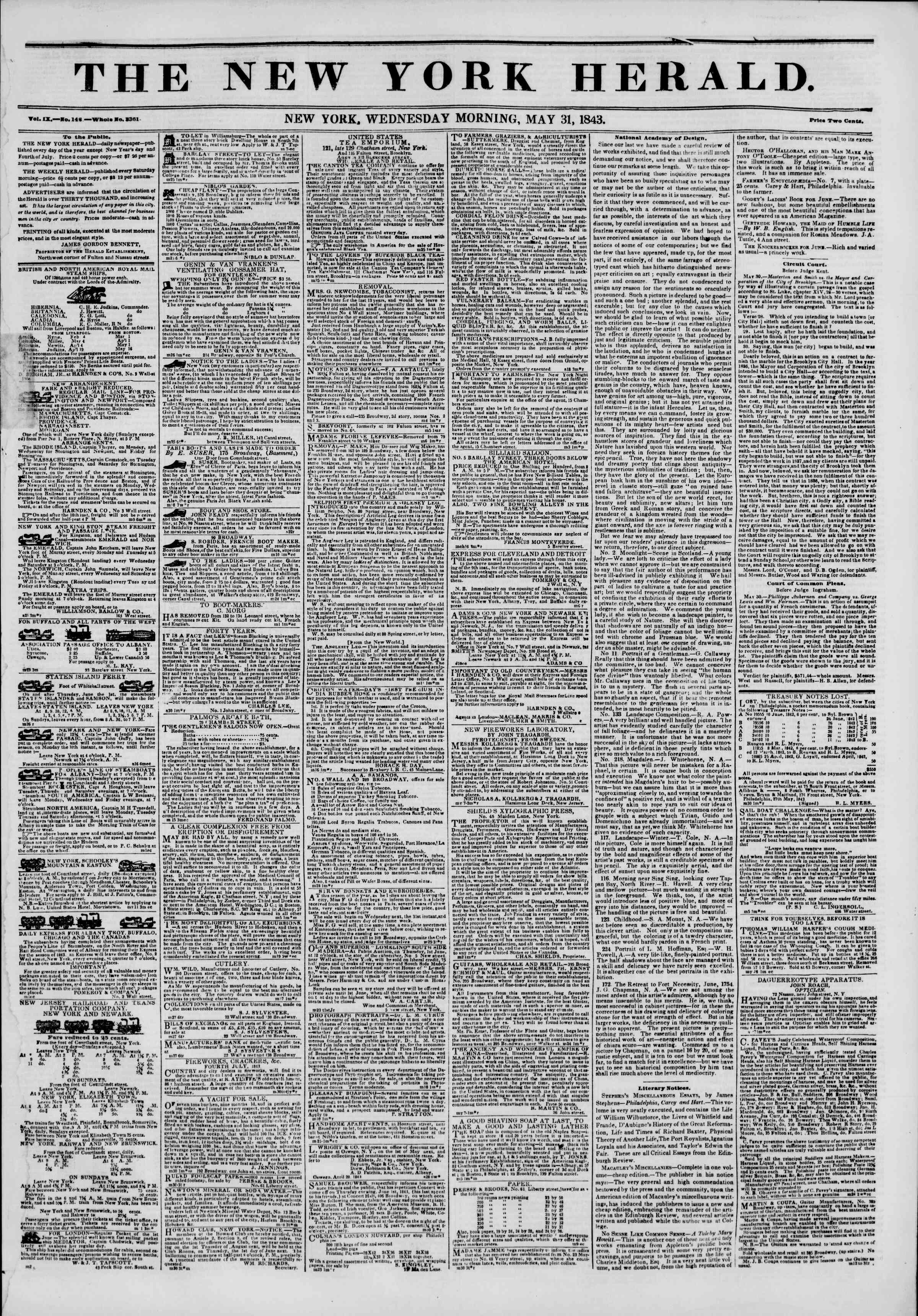 Newspaper of The New York Herald dated May 31, 1843 Page 1