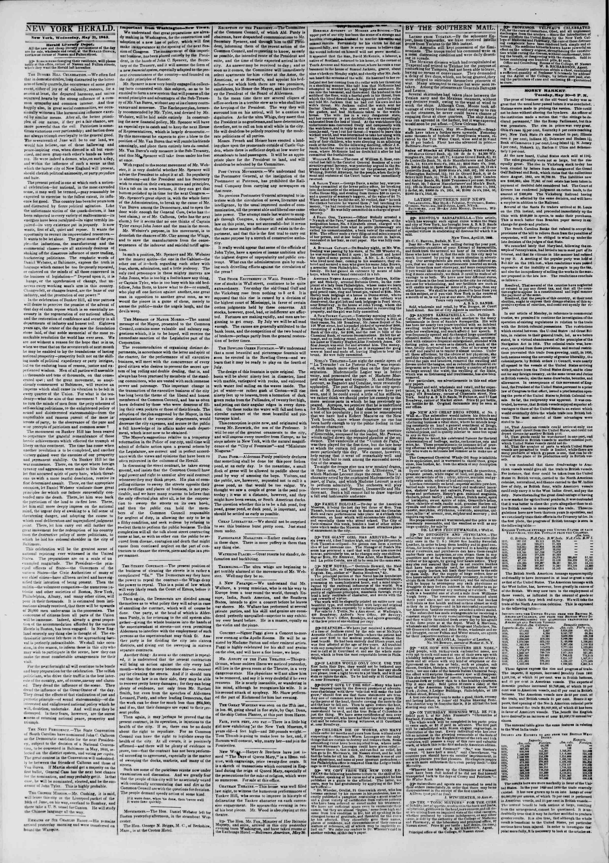 Newspaper of The New York Herald dated May 31, 1843 Page 2