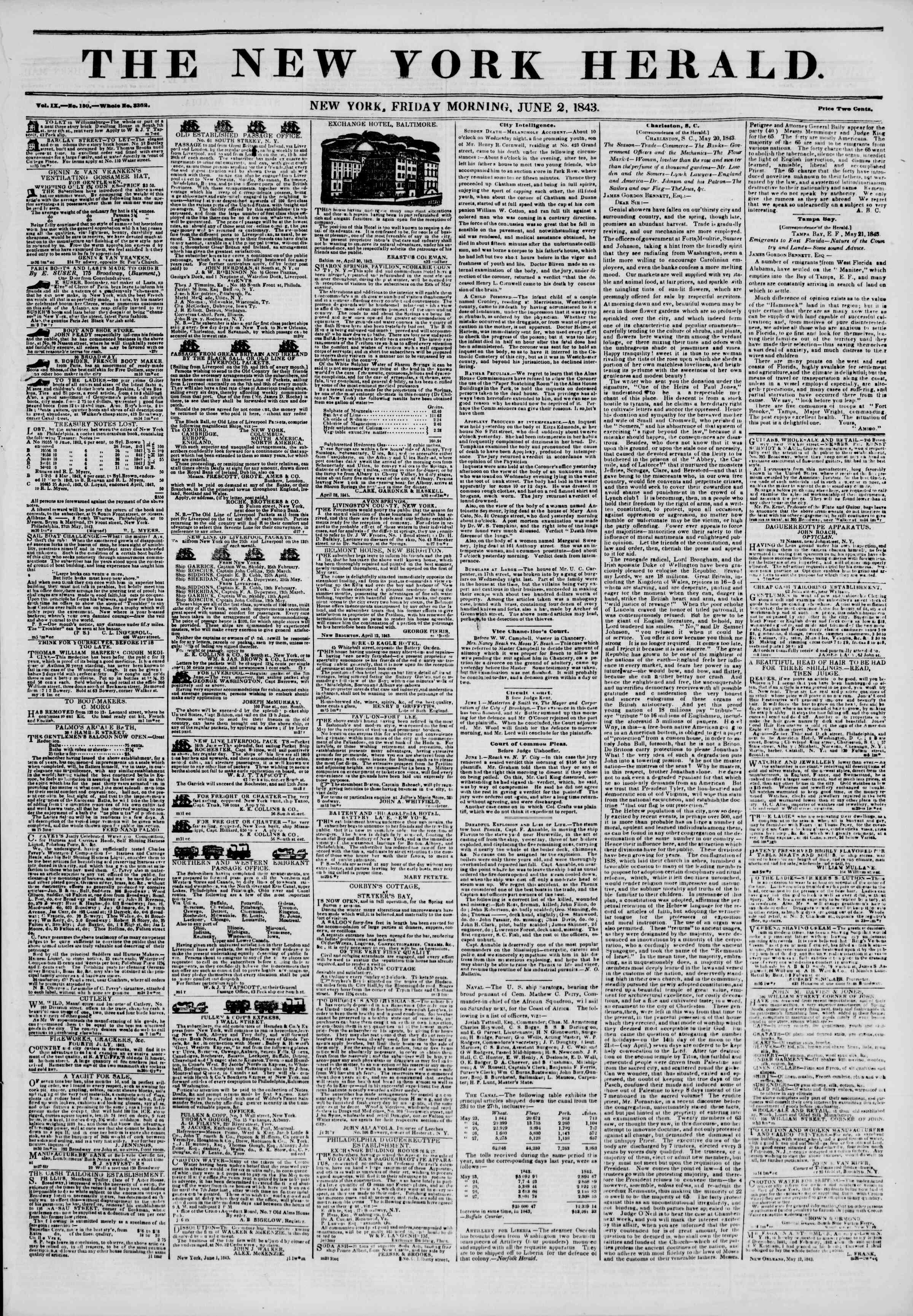 June 2, 1843 Tarihli The New York Herald Gazetesi Sayfa 1