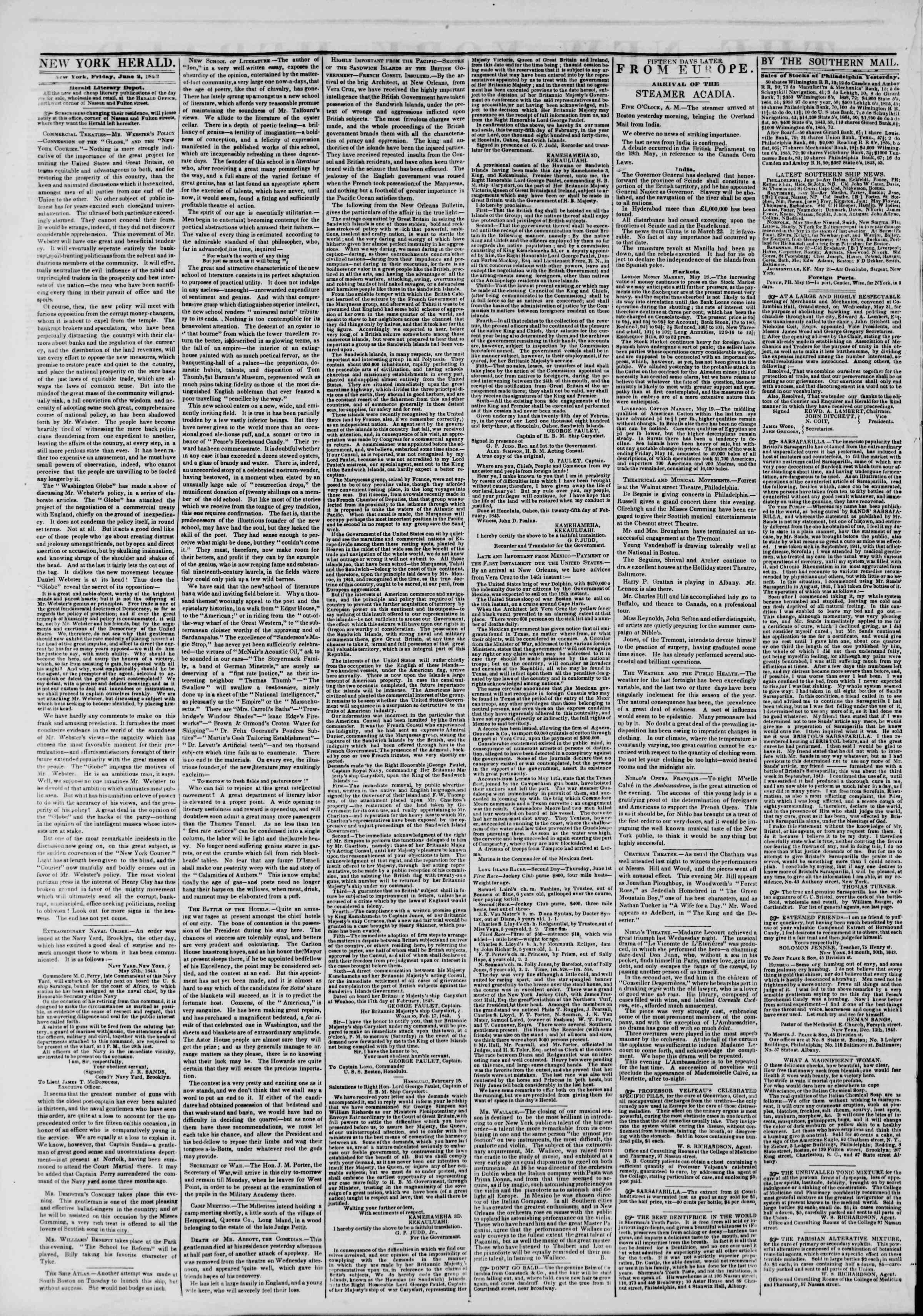 June 2, 1843 Tarihli The New York Herald Gazetesi Sayfa 2