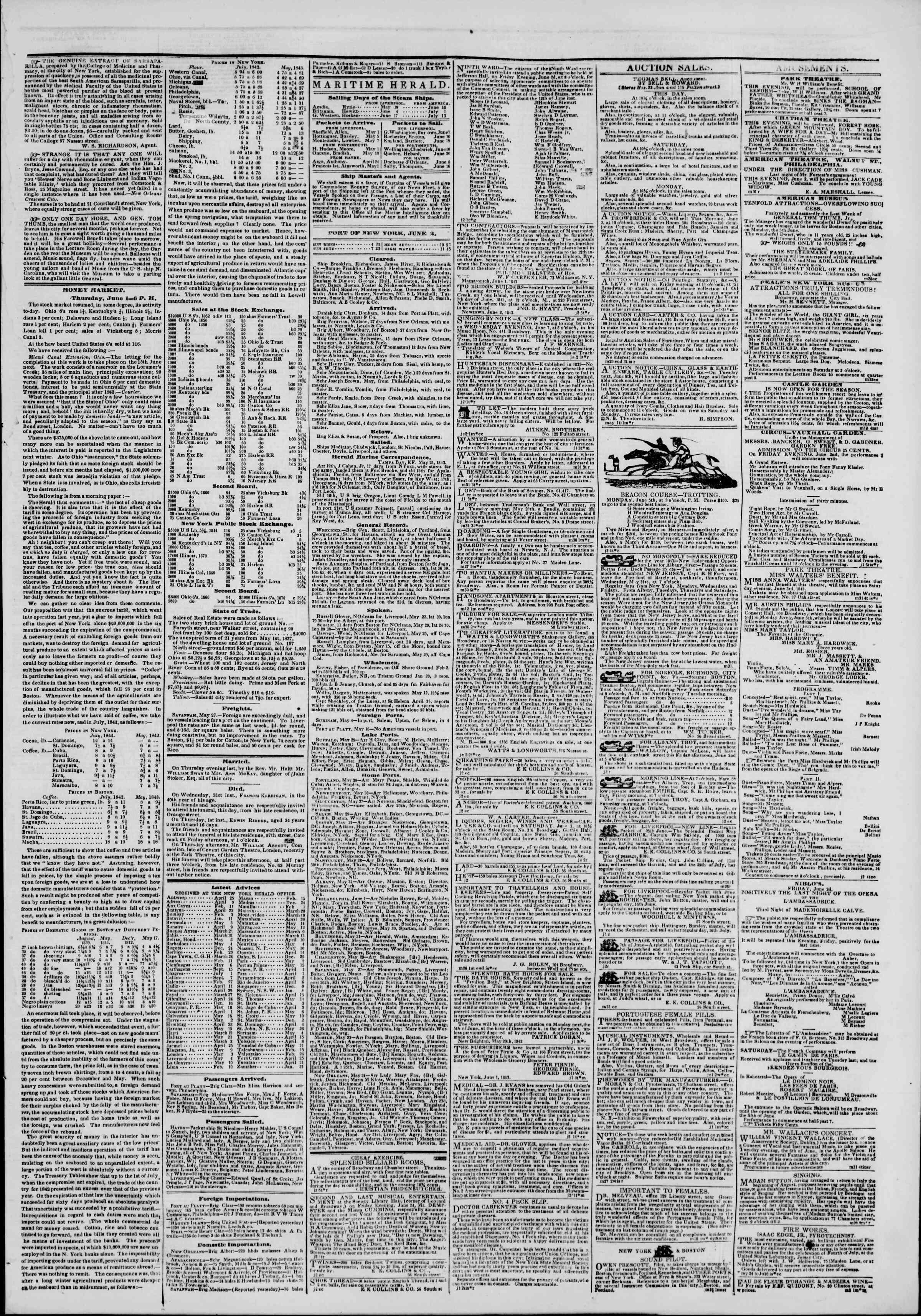June 2, 1843 Tarihli The New York Herald Gazetesi Sayfa 3