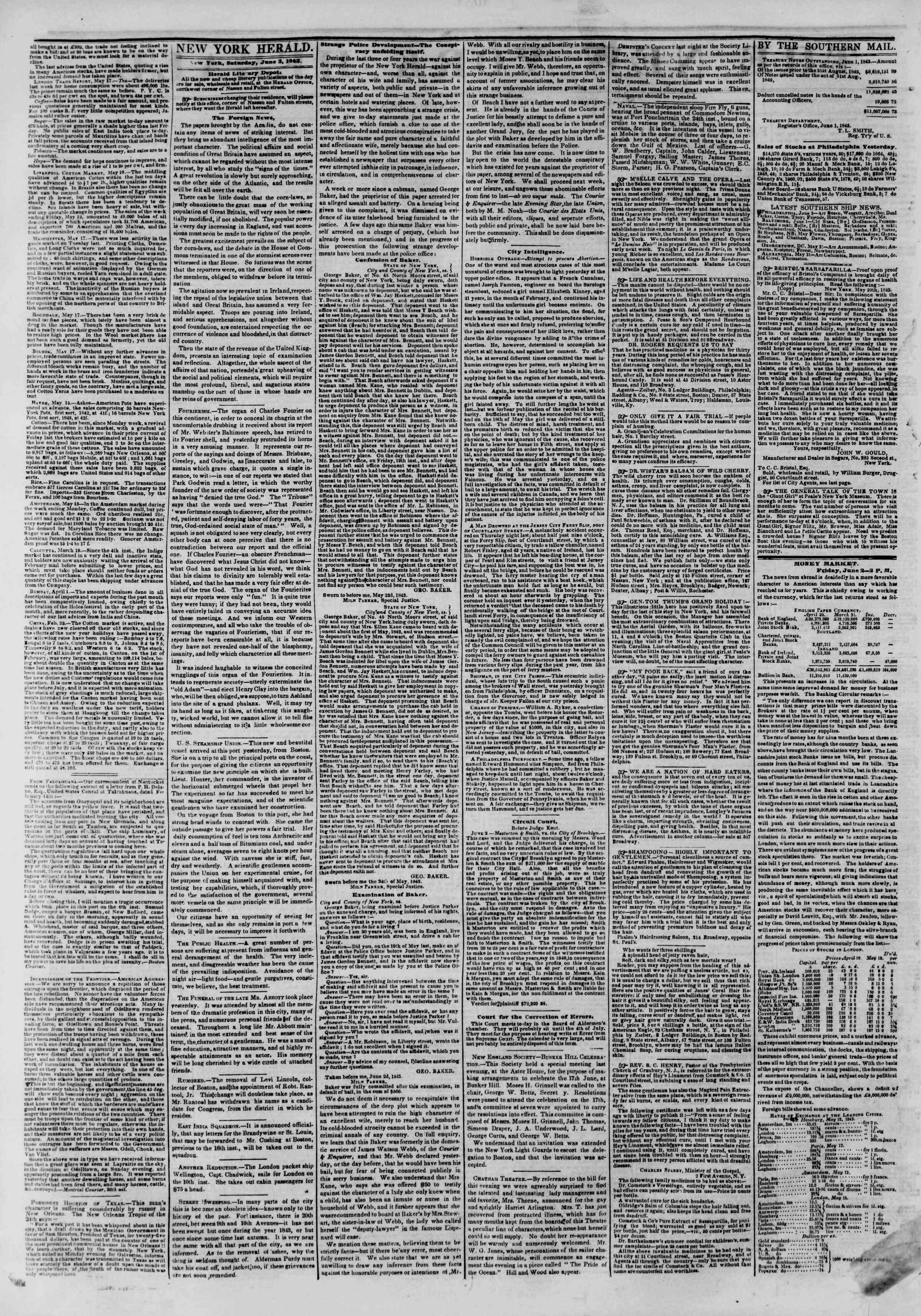 June 3, 1843 Tarihli The New York Herald Gazetesi Sayfa 2