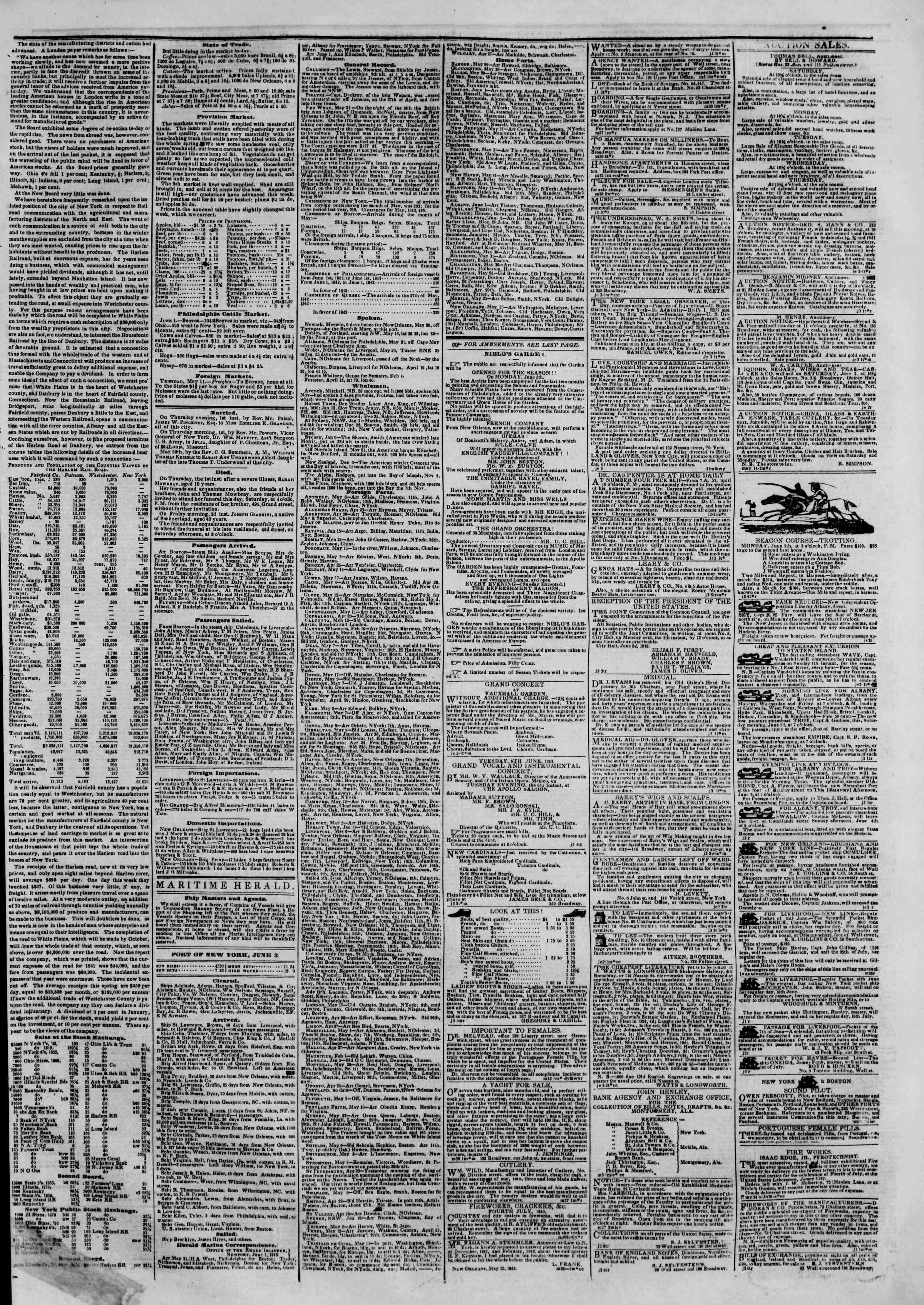 June 3, 1843 Tarihli The New York Herald Gazetesi Sayfa 3