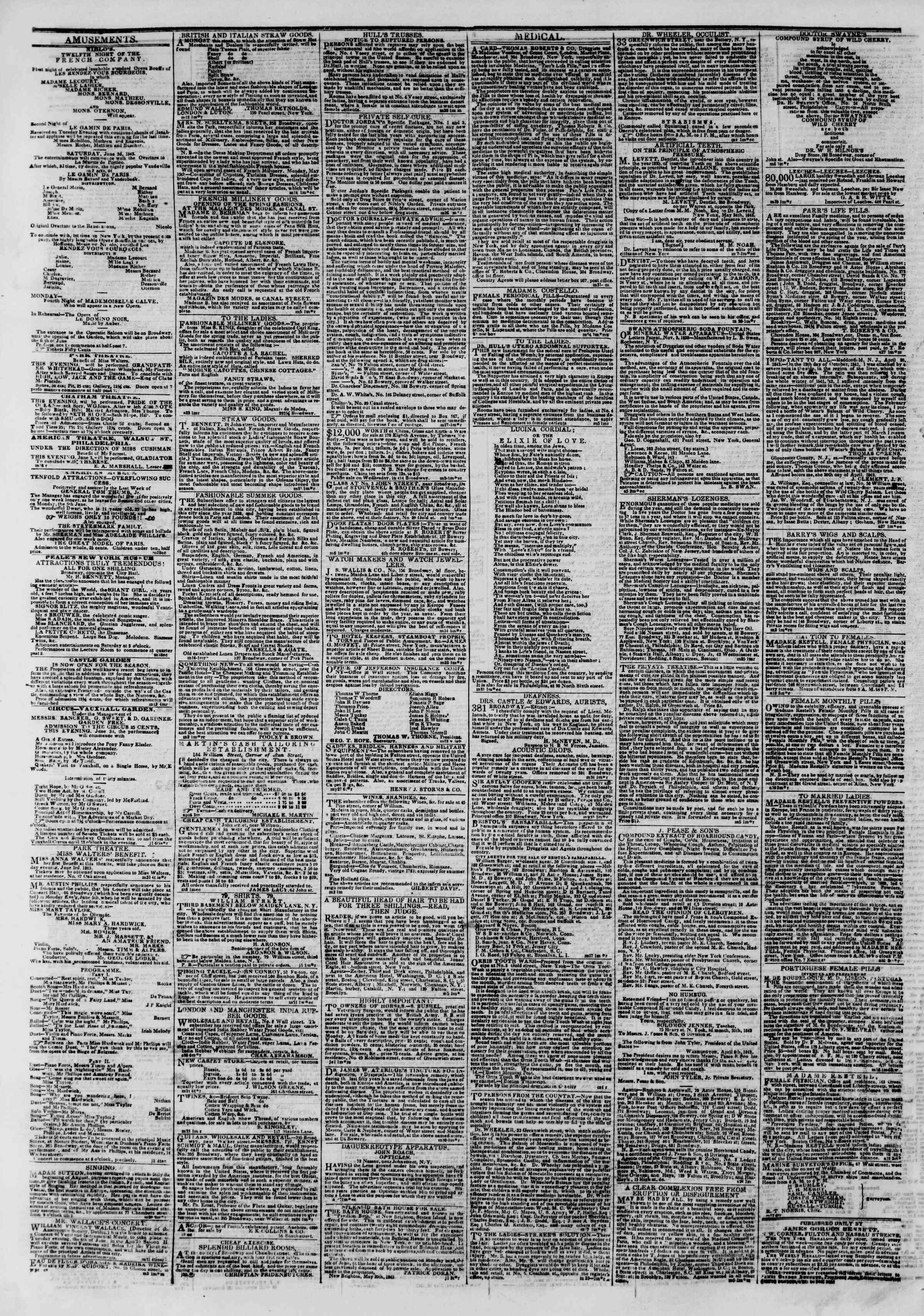 Newspaper of The New York Herald dated June 3, 1843 Page 4