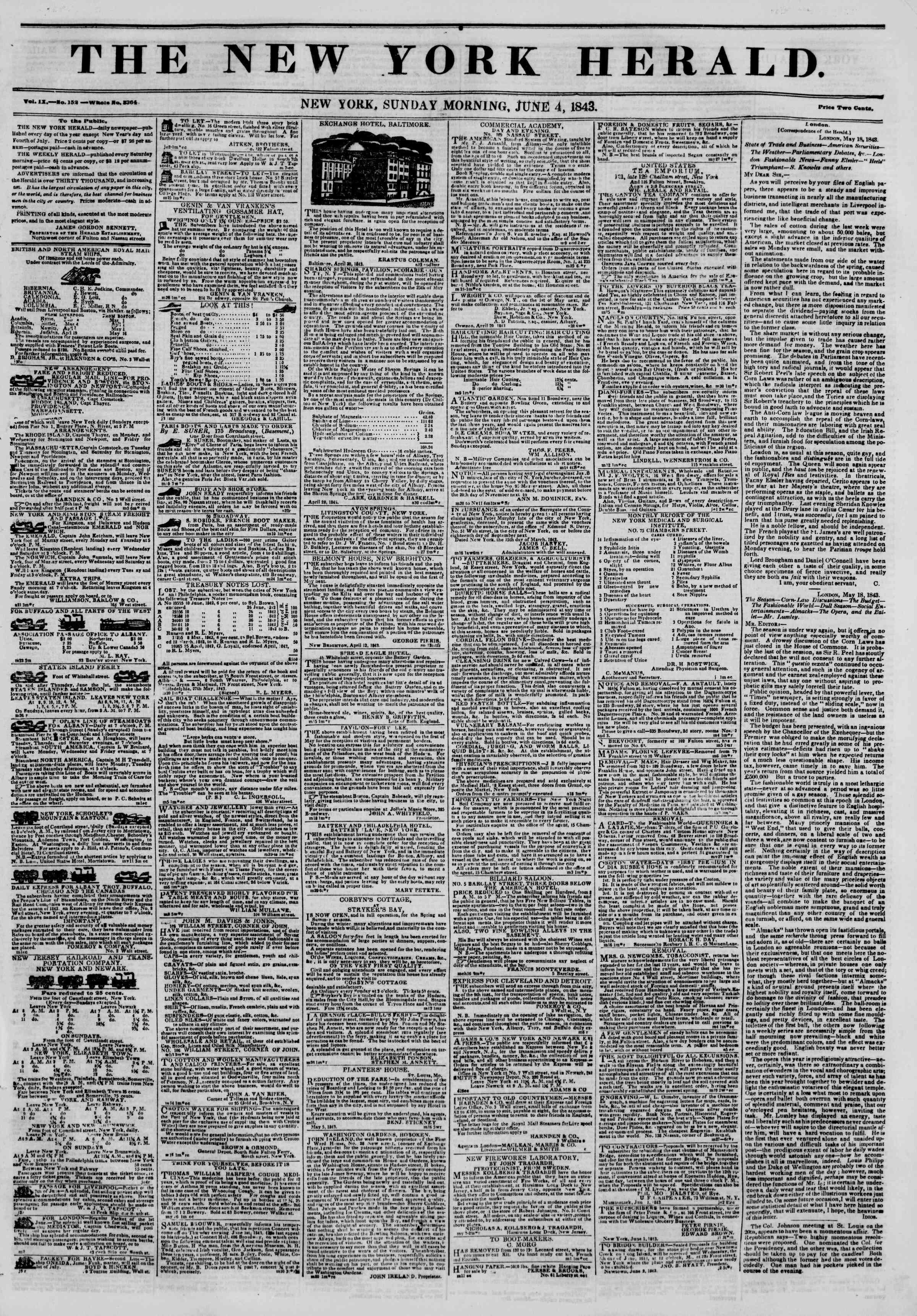 June 4, 1843 Tarihli The New York Herald Gazetesi Sayfa 1