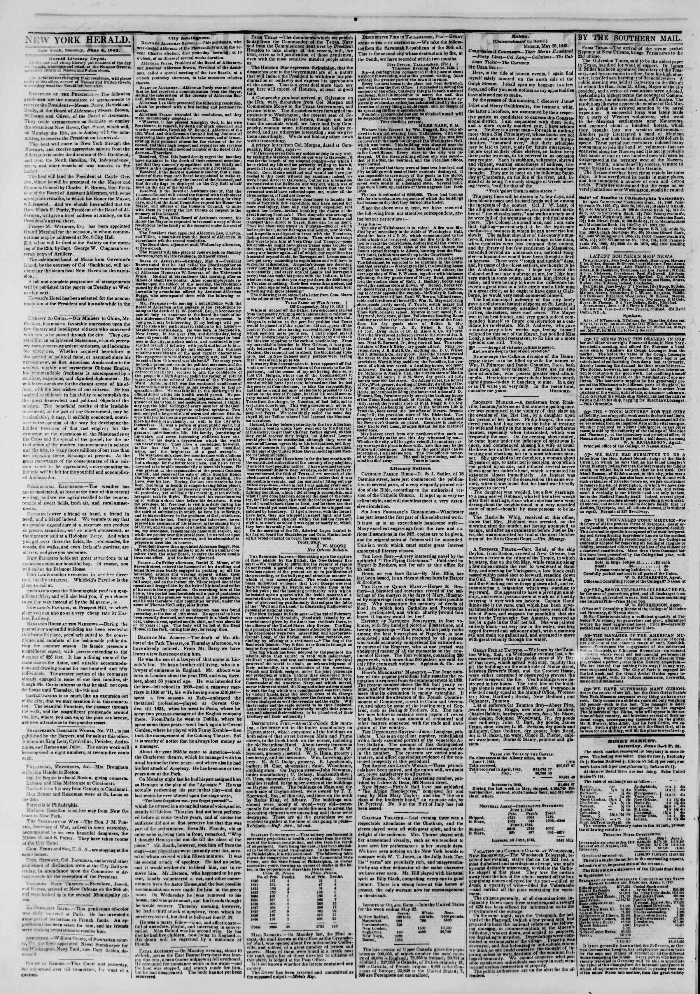 June 4, 1843 Tarihli The New York Herald Gazetesi Sayfa 2