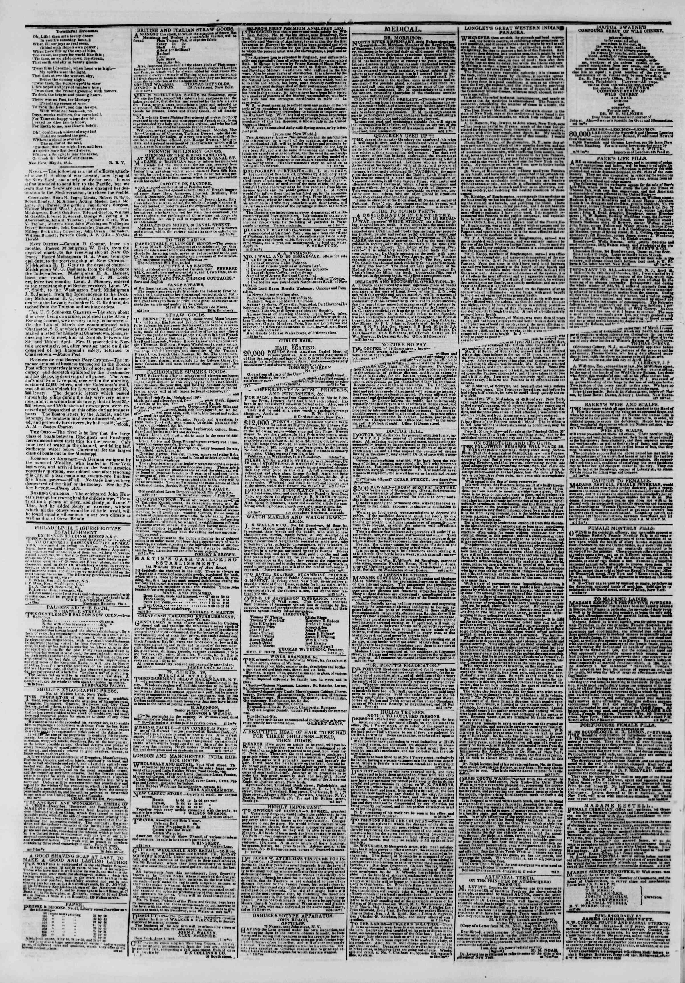 June 4, 1843 Tarihli The New York Herald Gazetesi Sayfa 4