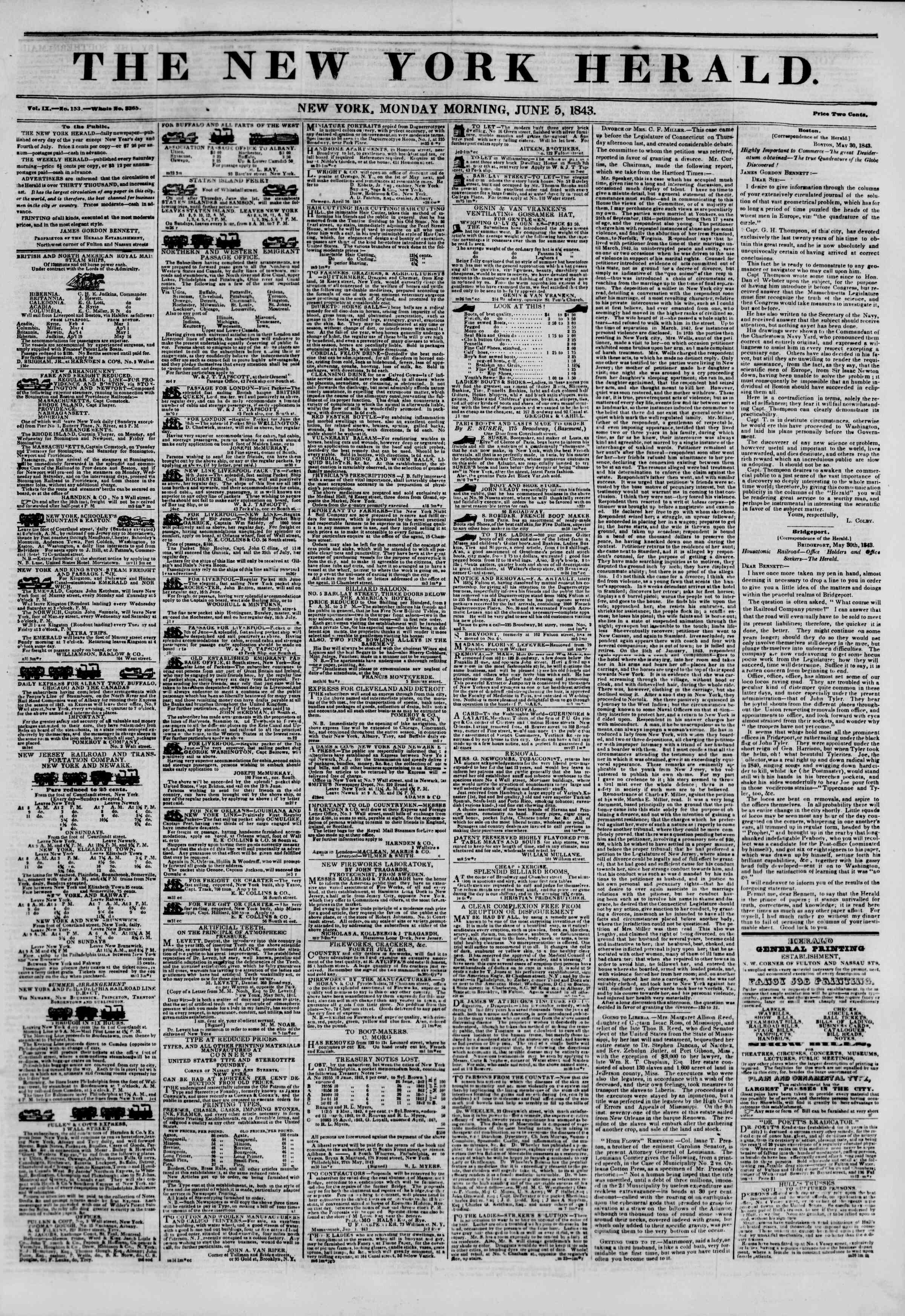 June 5, 1843 Tarihli The New York Herald Gazetesi Sayfa 1
