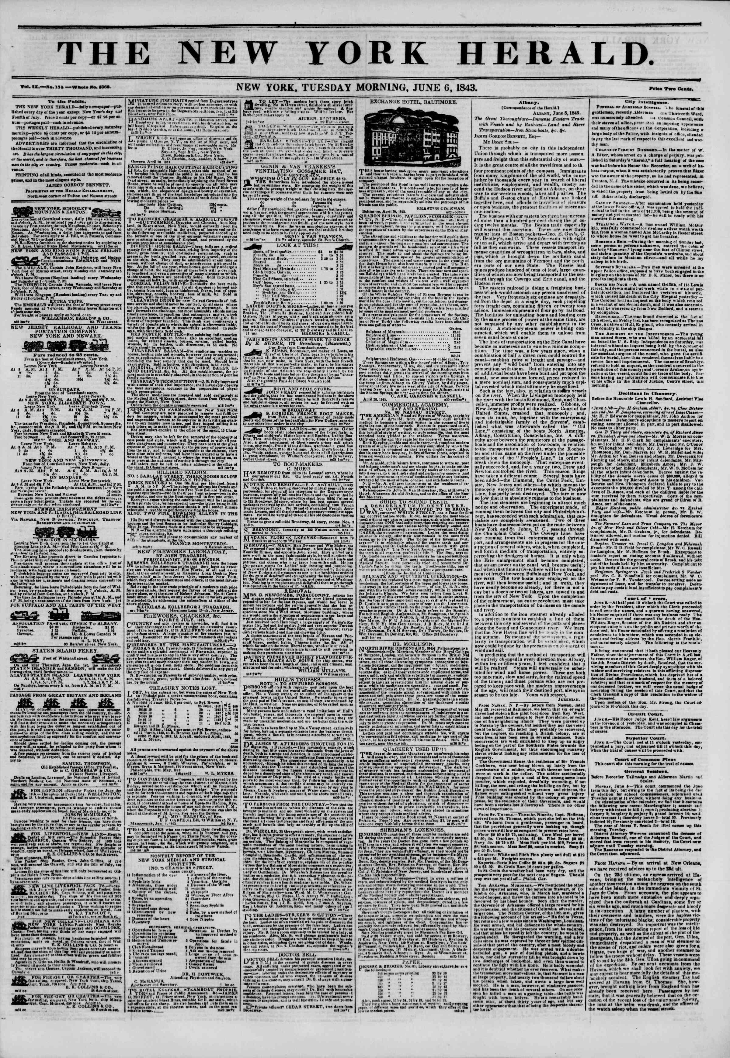 June 6, 1843 Tarihli The New York Herald Gazetesi Sayfa 1