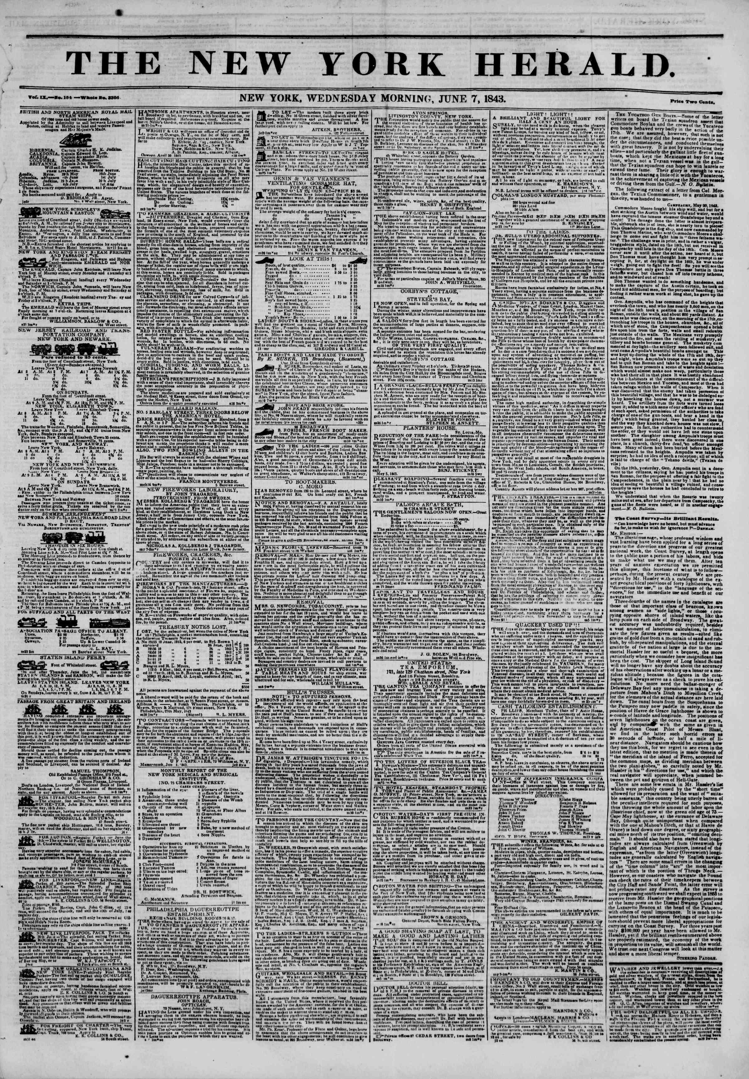 June 7, 1843 Tarihli The New York Herald Gazetesi Sayfa 1