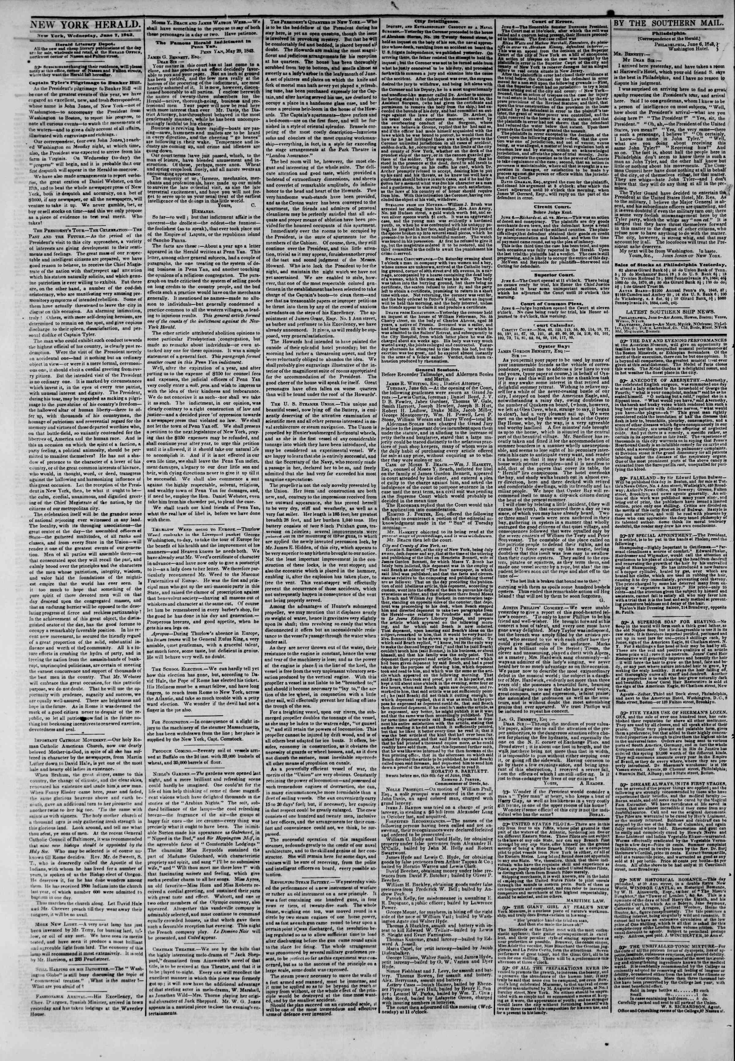 June 7, 1843 Tarihli The New York Herald Gazetesi Sayfa 2