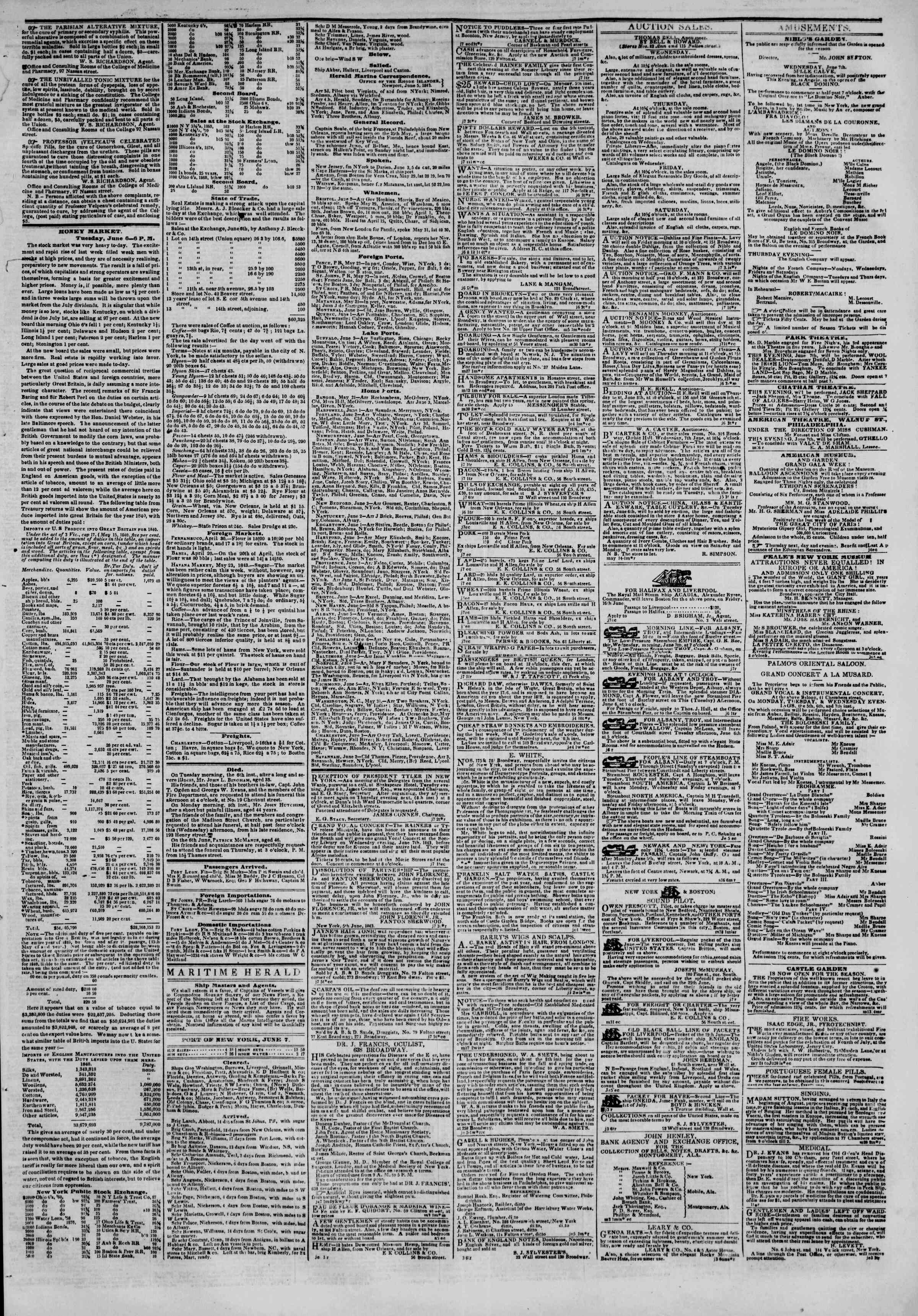 Newspaper of The New York Herald dated June 7, 1843 Page 3