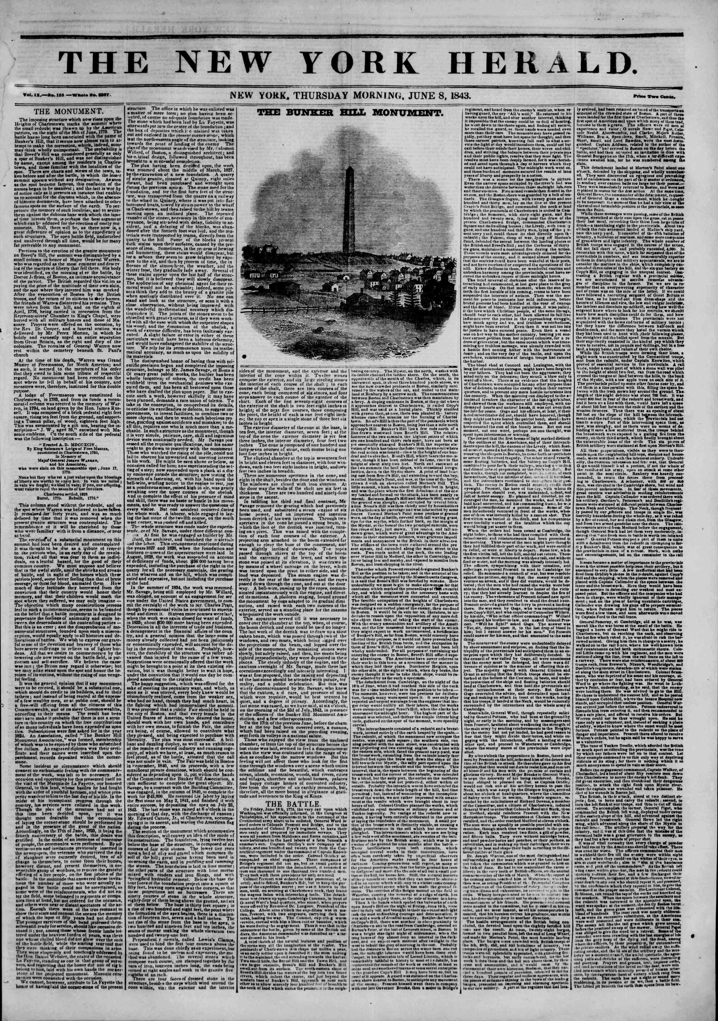 June 8, 1843 Tarihli The New York Herald Gazetesi Sayfa 1