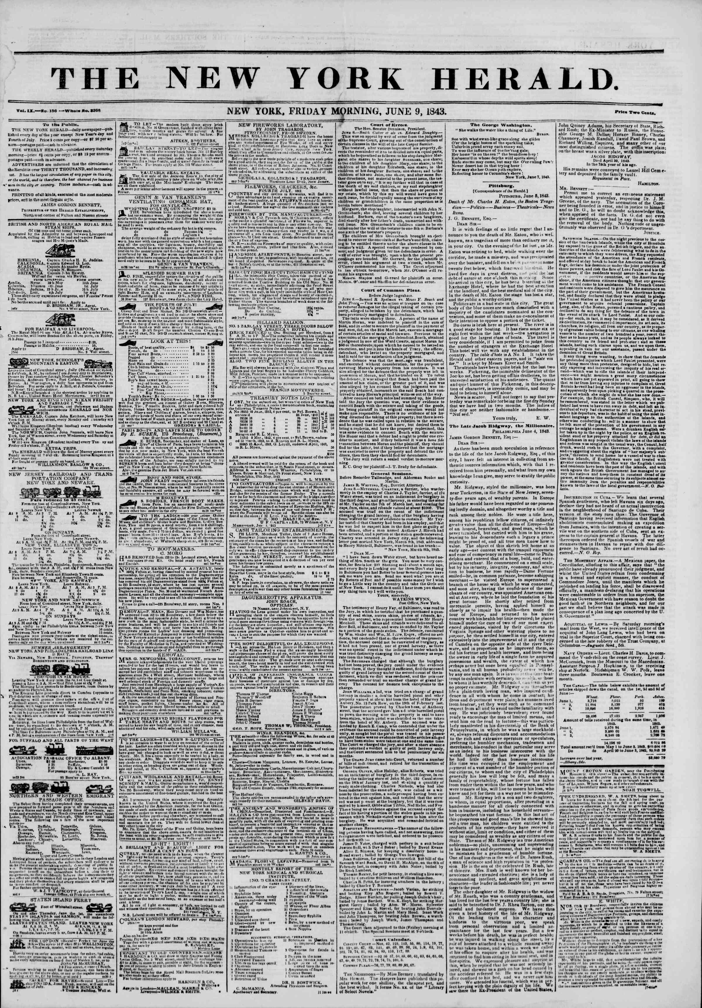Newspaper of The New York Herald dated June 9, 1843 Page 1