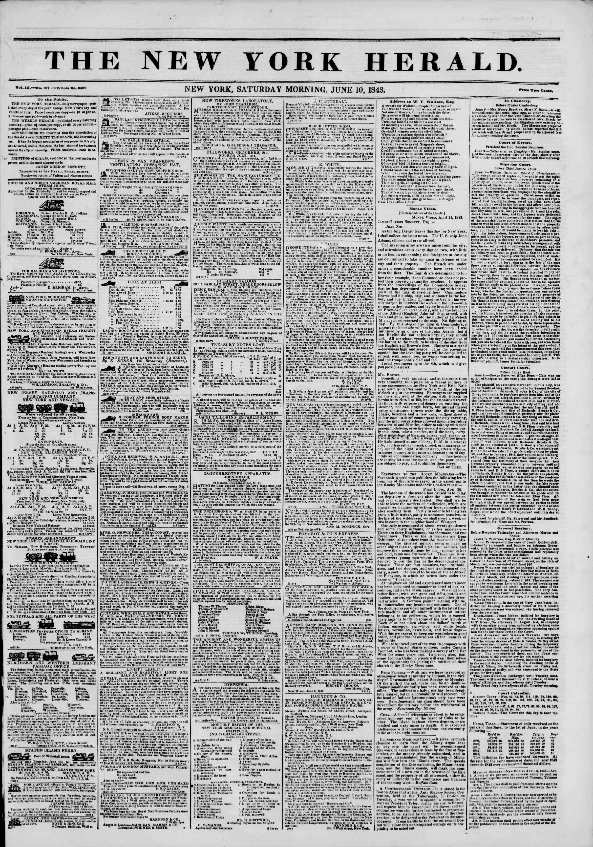 Newspaper of The New York Herald dated June 10, 1843 Page 1