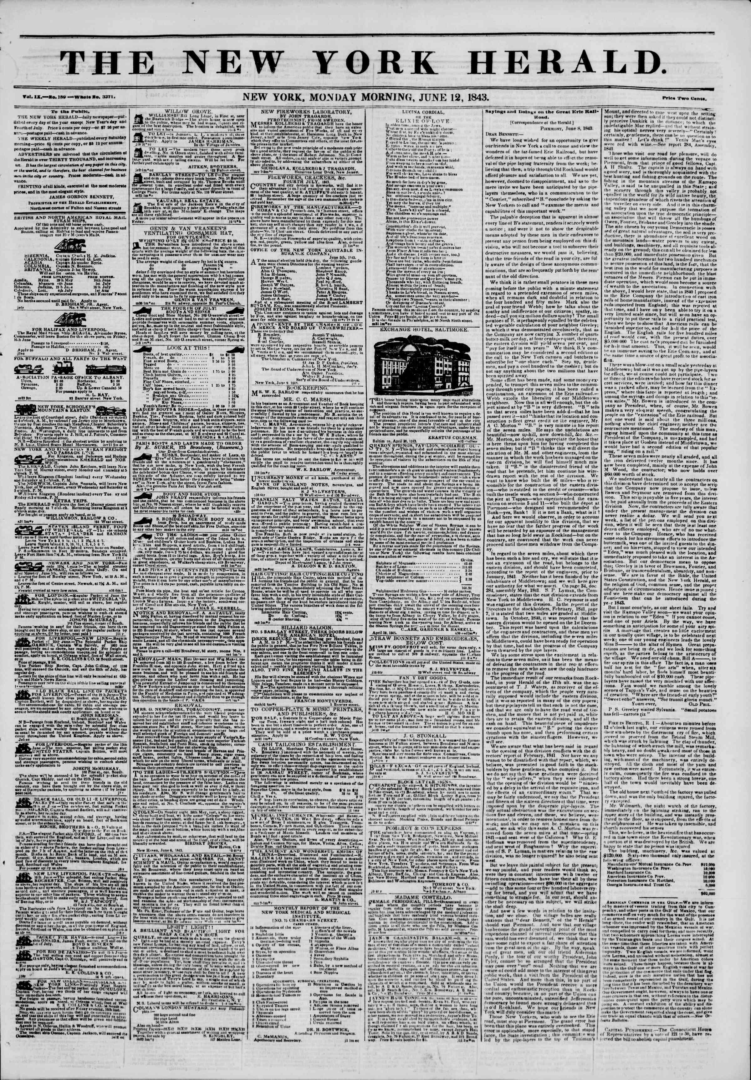June 12, 1843 Tarihli The New York Herald Gazetesi Sayfa 1