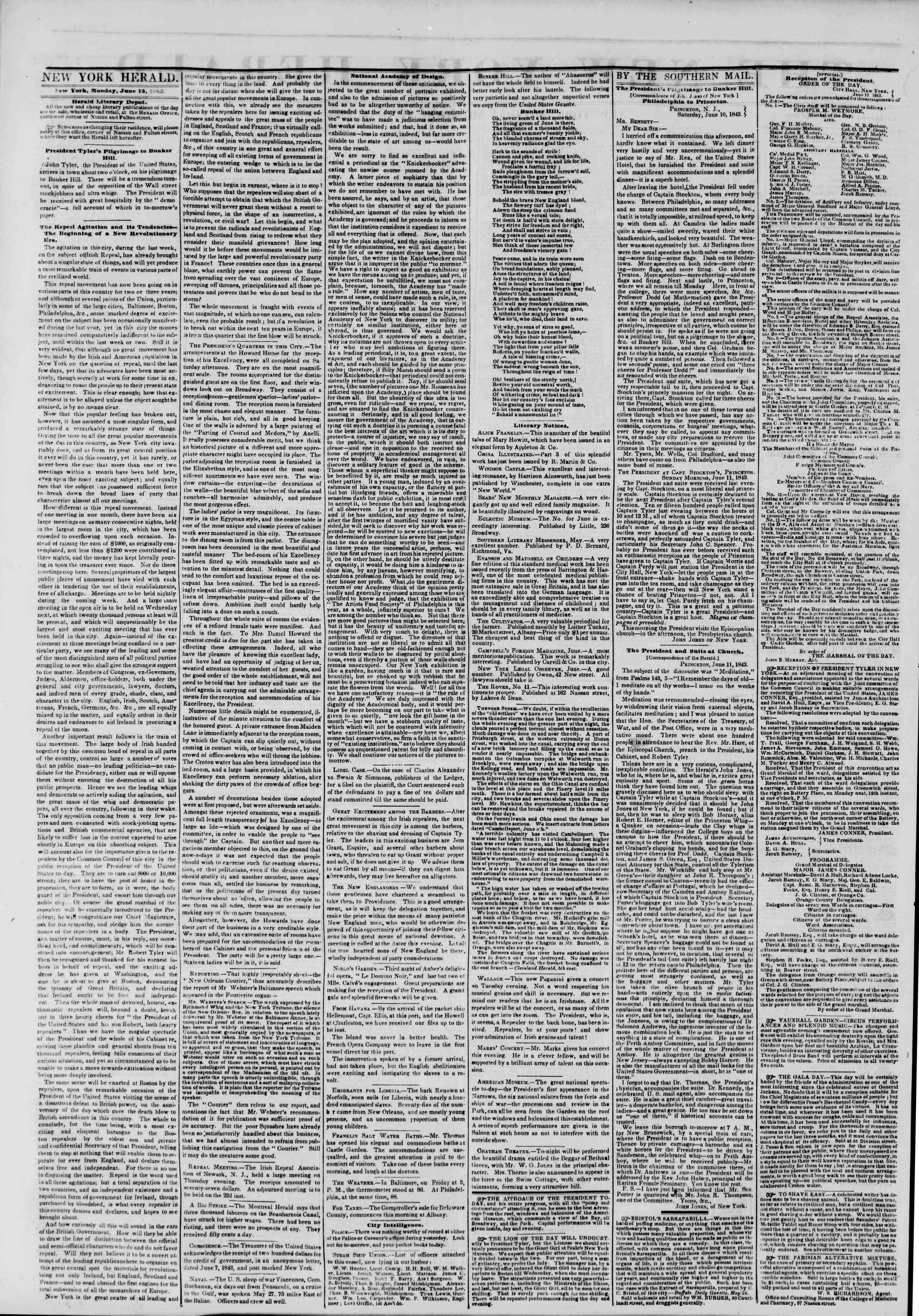 June 12, 1843 Tarihli The New York Herald Gazetesi Sayfa 2