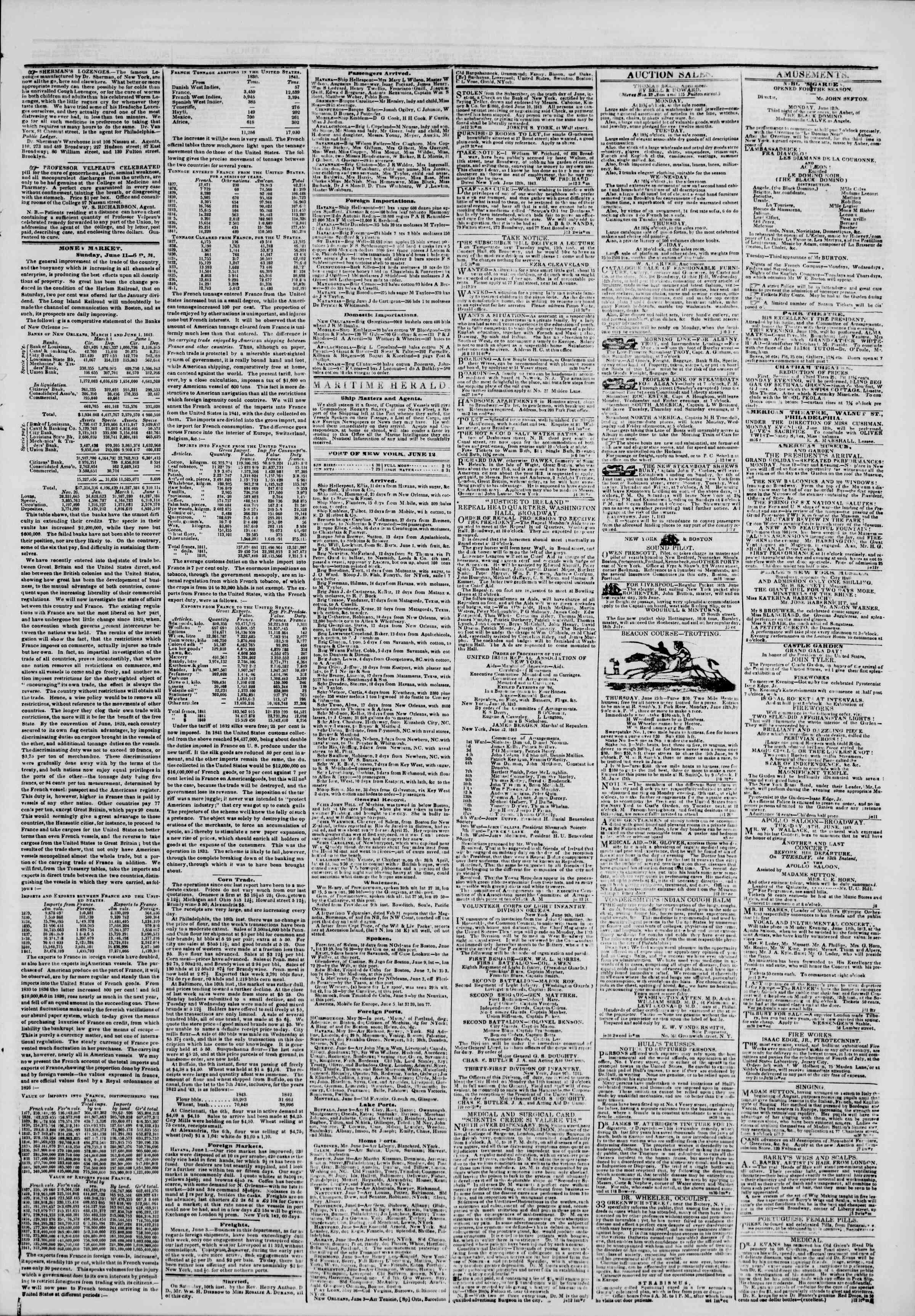 June 12, 1843 Tarihli The New York Herald Gazetesi Sayfa 3