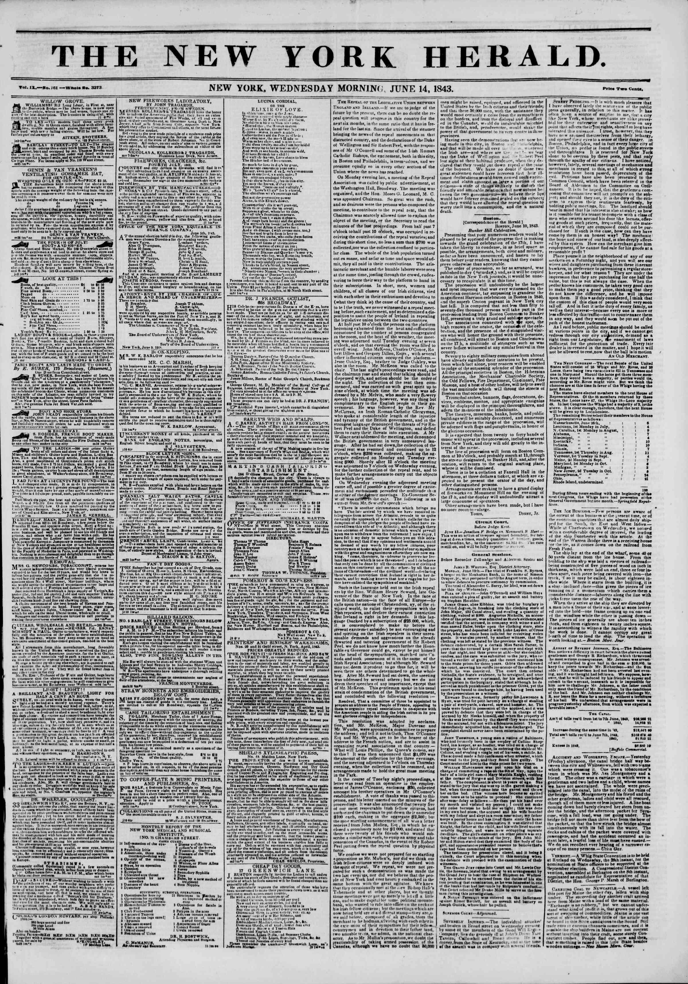 June 14, 1843 Tarihli The New York Herald Gazetesi Sayfa 1