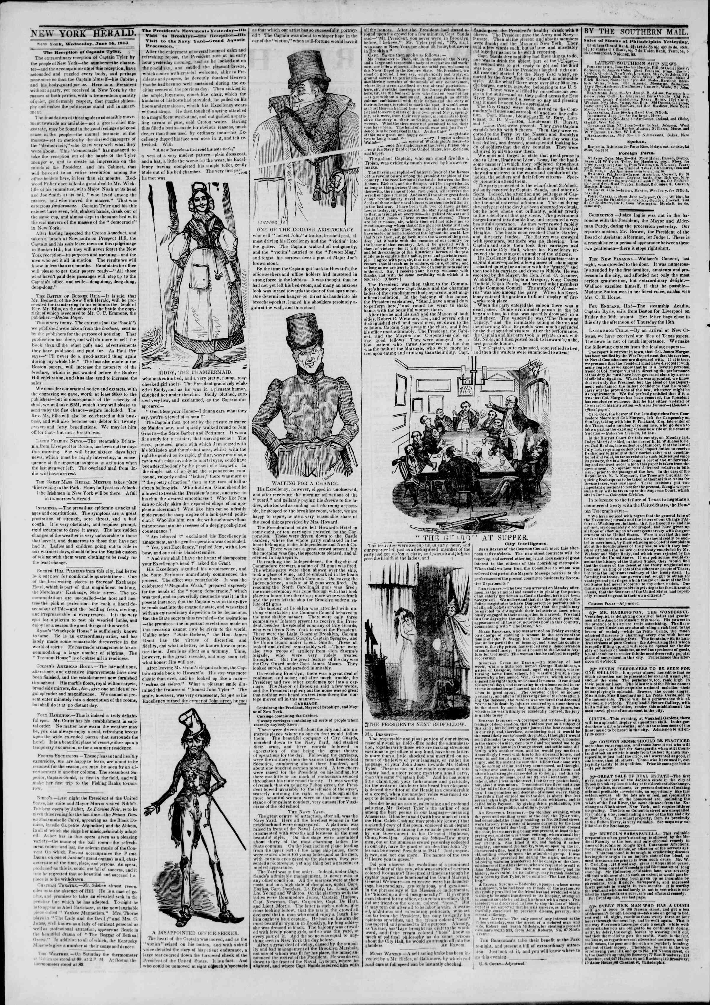 Newspaper of The New York Herald dated June 14, 1843 Page 2