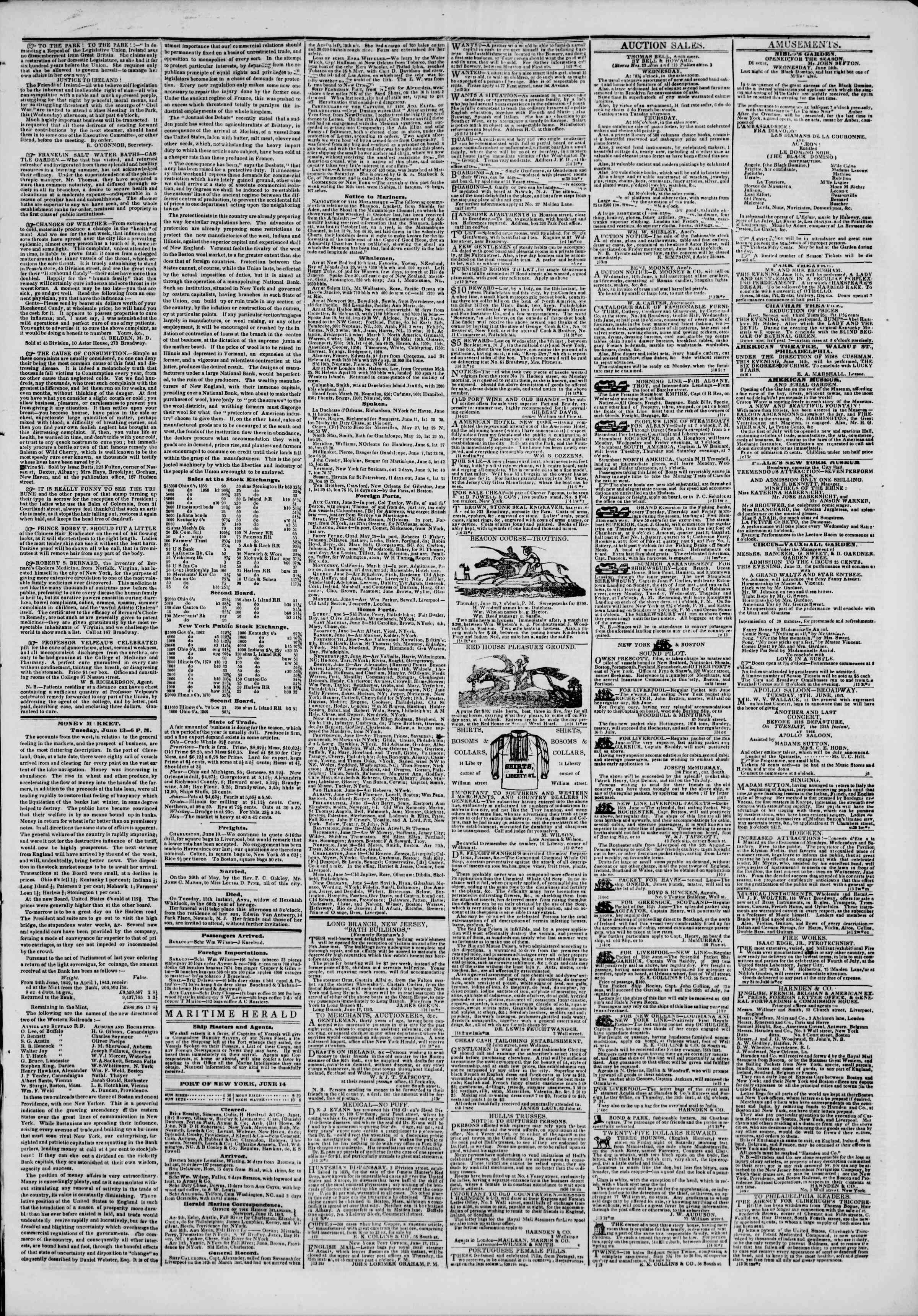 Newspaper of The New York Herald dated June 14, 1843 Page 3