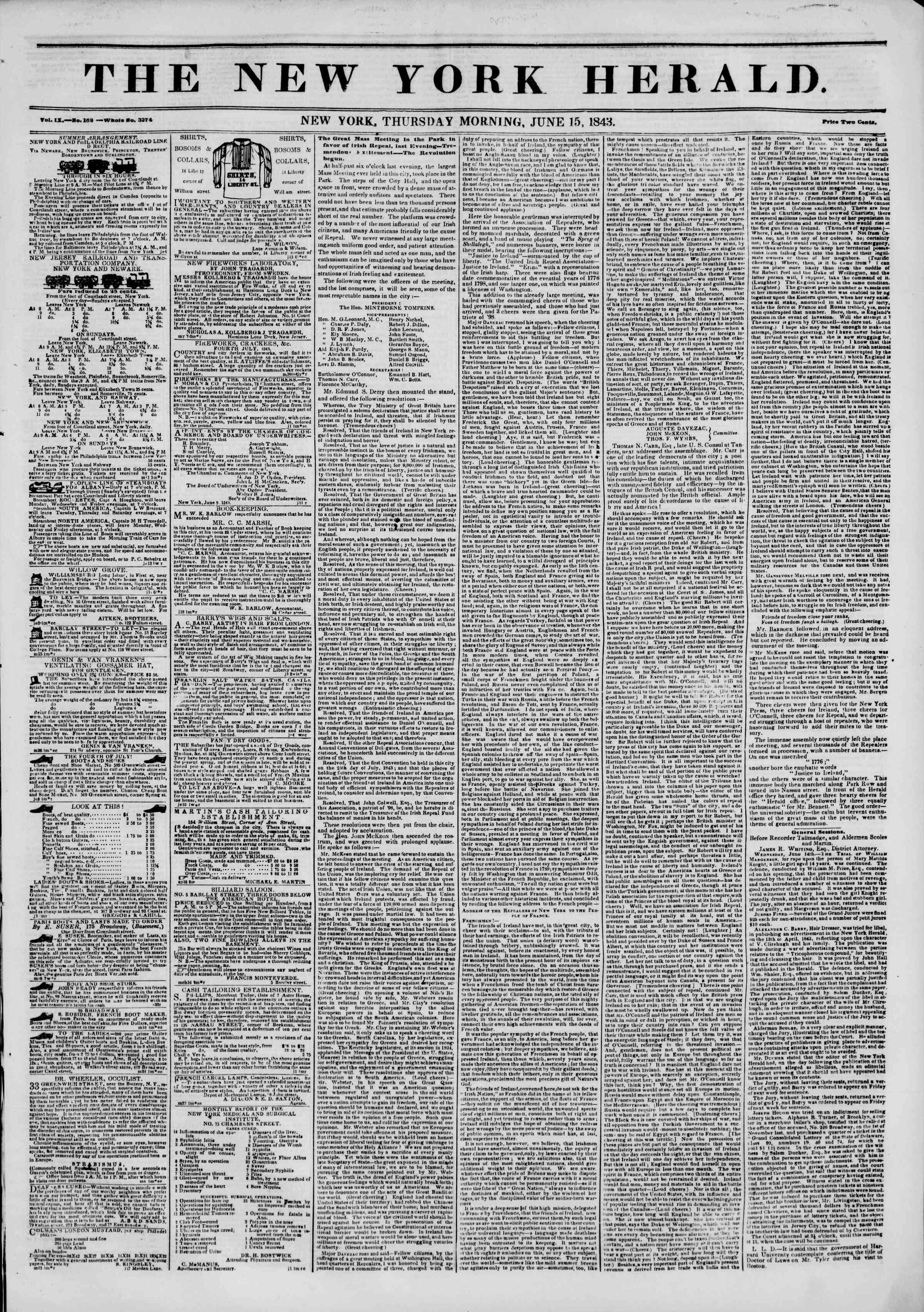June 15, 1843 Tarihli The New York Herald Gazetesi Sayfa 1