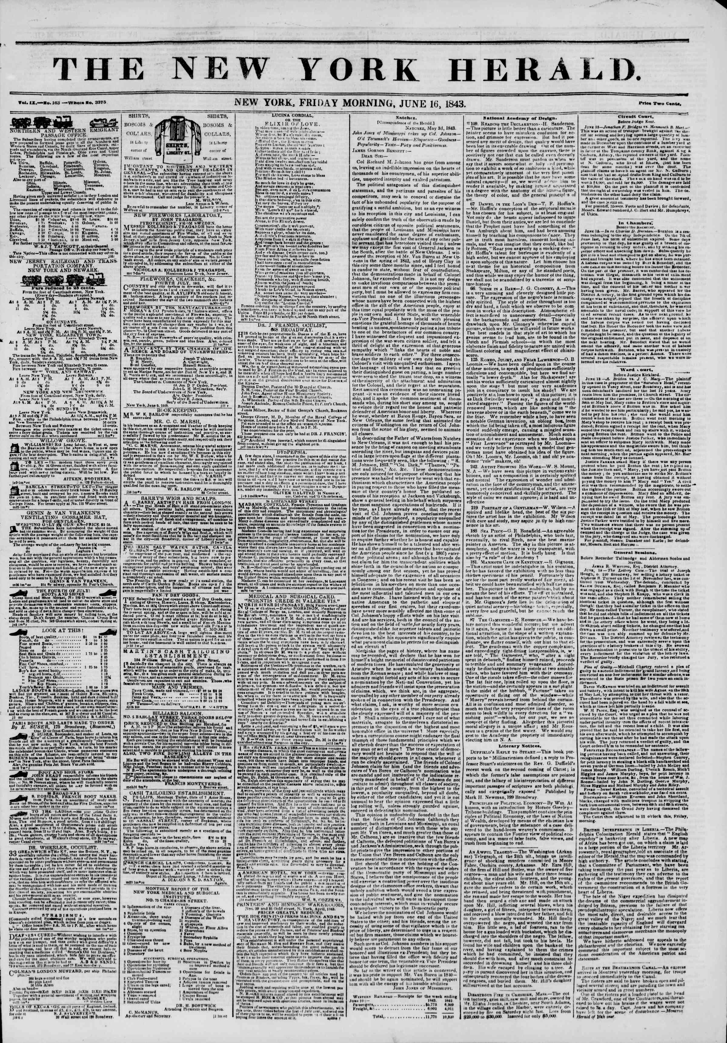 Newspaper of The New York Herald dated June 16, 1843 Page 1